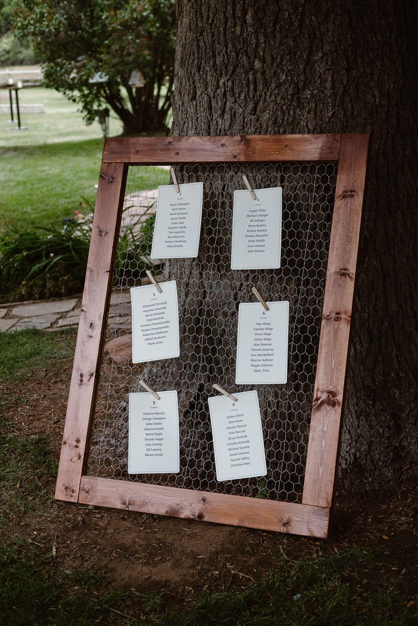 Aspen ranch wedding, Colorado mountain wedding photographer, private ranch wedding reception seating chart