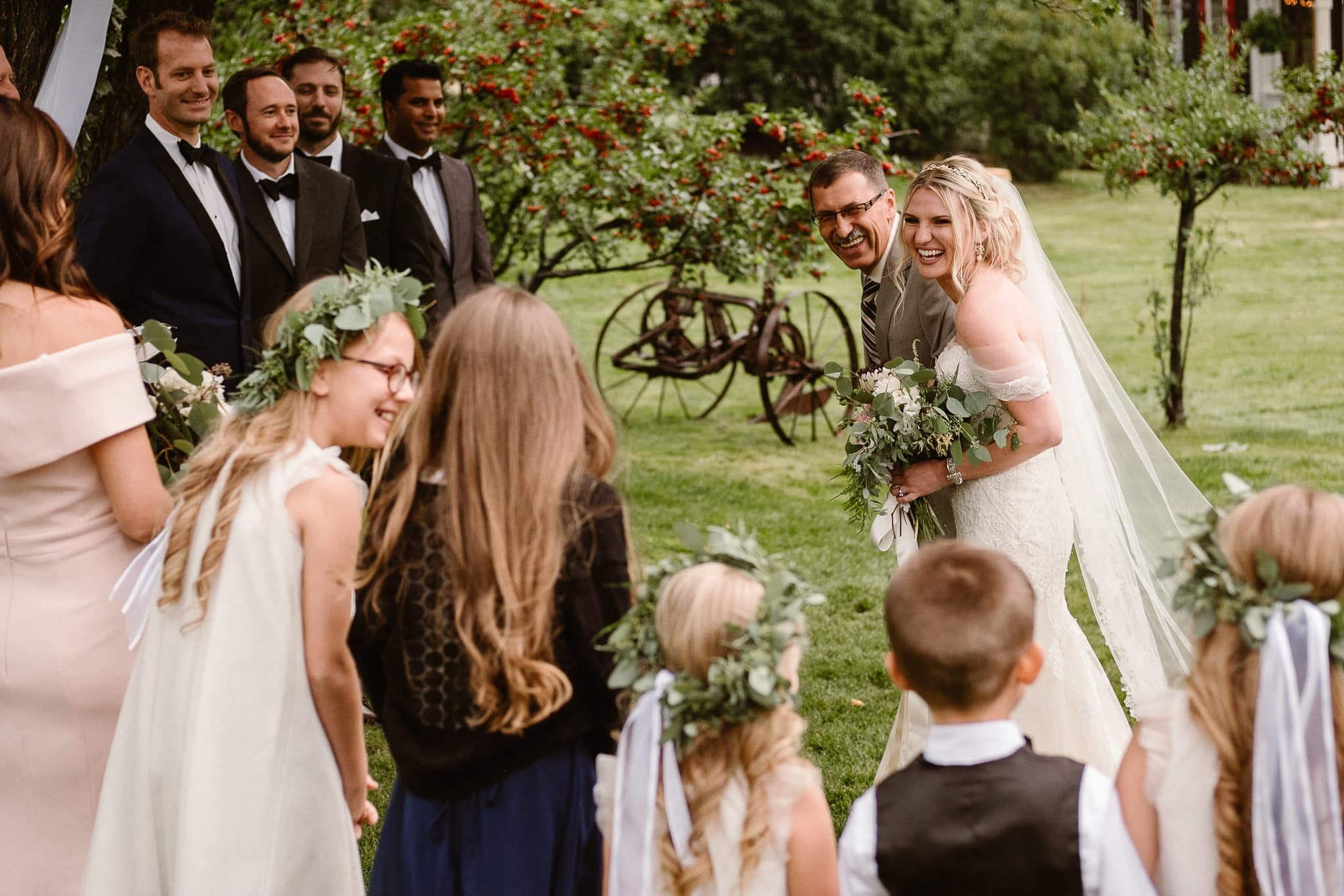 Aspen ranch wedding, Colorado mountain wedding photographer, private ranch wedding ceremony, bride and father walking up aisle