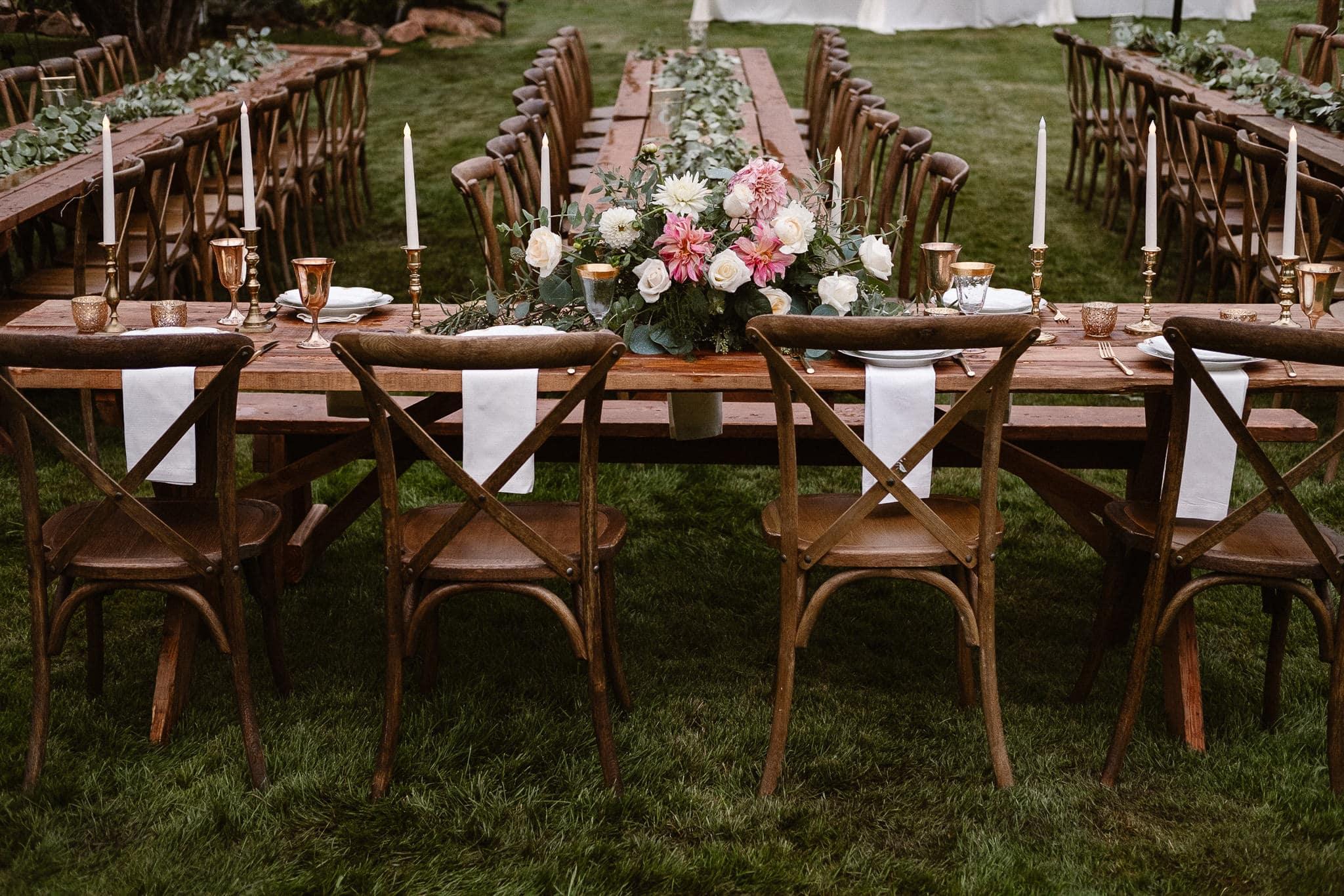 Aspen ranch wedding, Colorado mountain wedding photographer, private ranch wedding reception, head table decorations