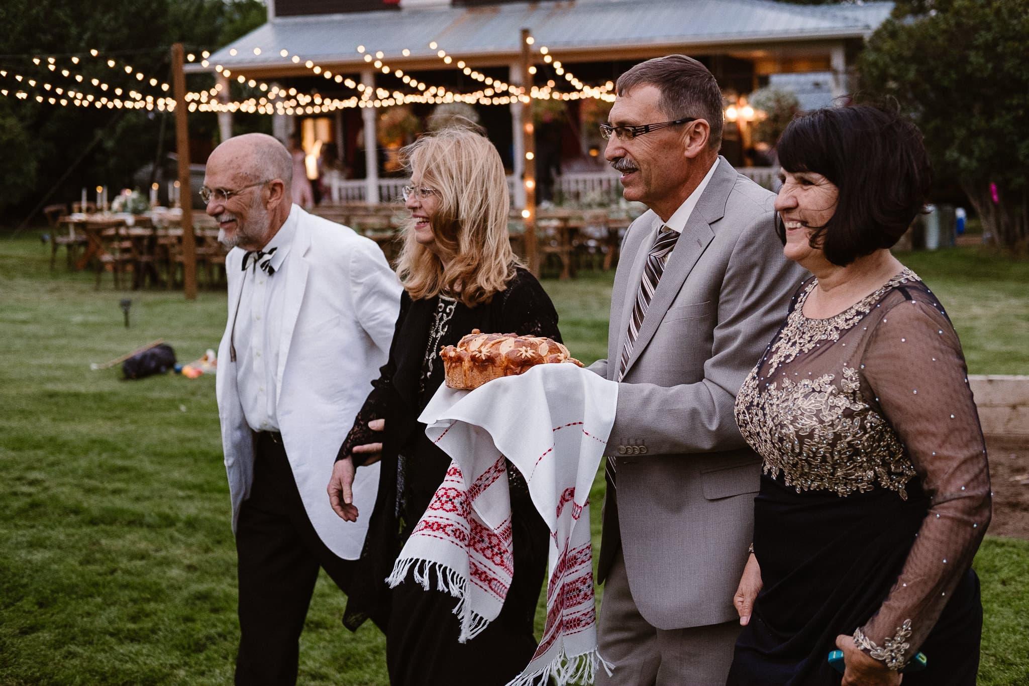 Aspen ranch wedding, Colorado mountain wedding photographer, private ranch wedding reception, Russian wedding bread loaf with salt