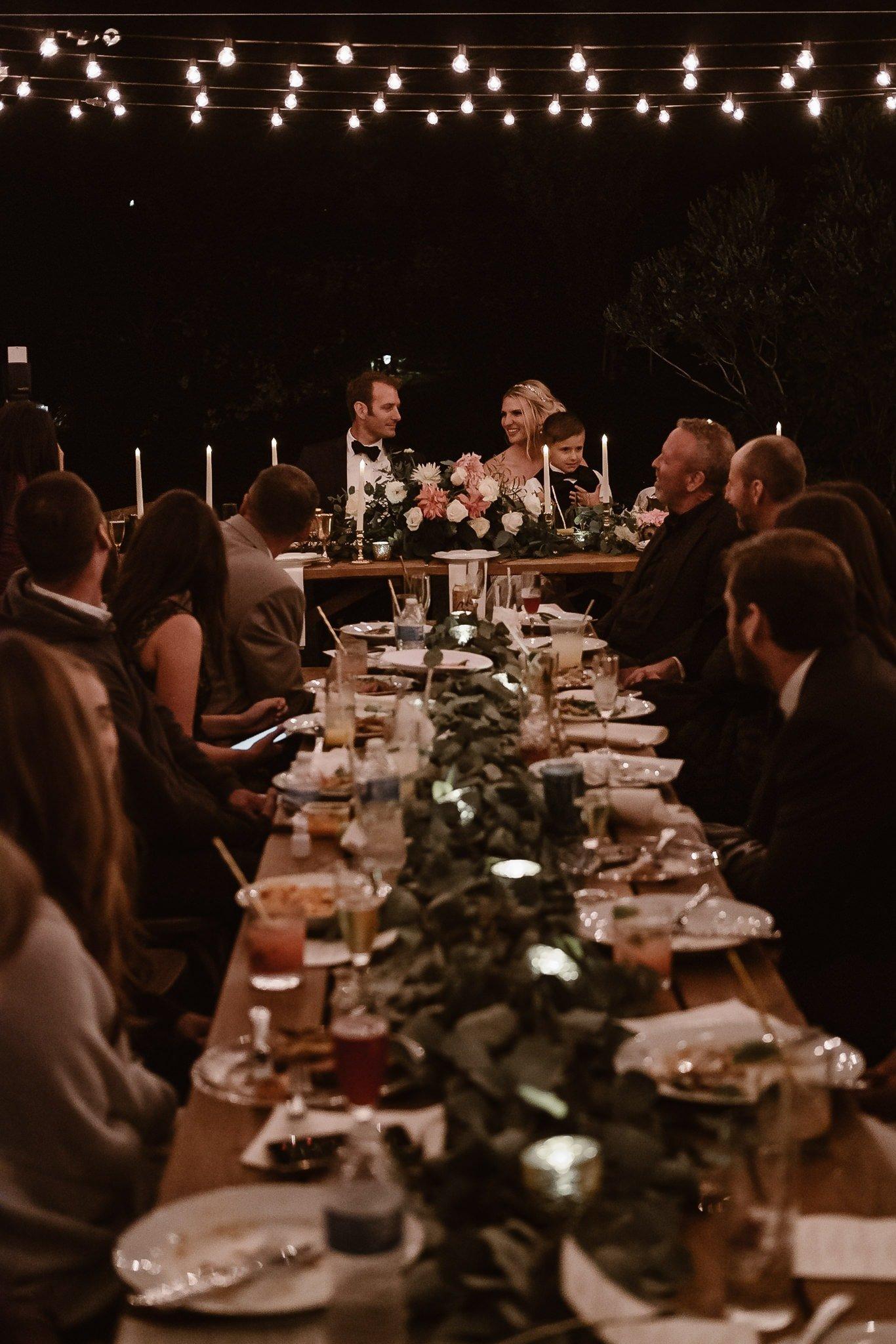 Aspen ranch wedding, Colorado mountain wedding photographer, private ranch wedding reception, market lights string lights outdoor wedding reception at night