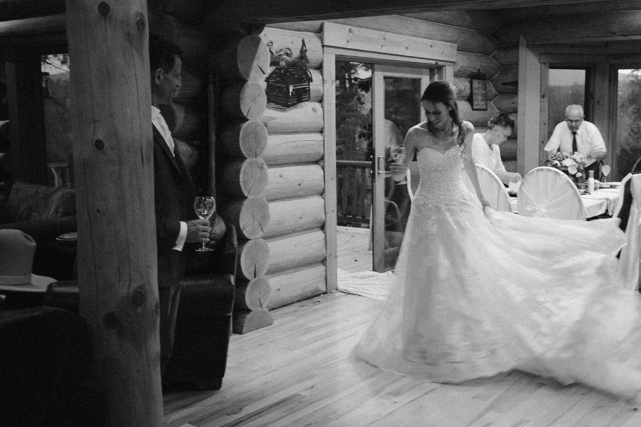 Red Feather Lakes elopement photographer, Colorado intimate cabin wedding, bride dancing in cabin