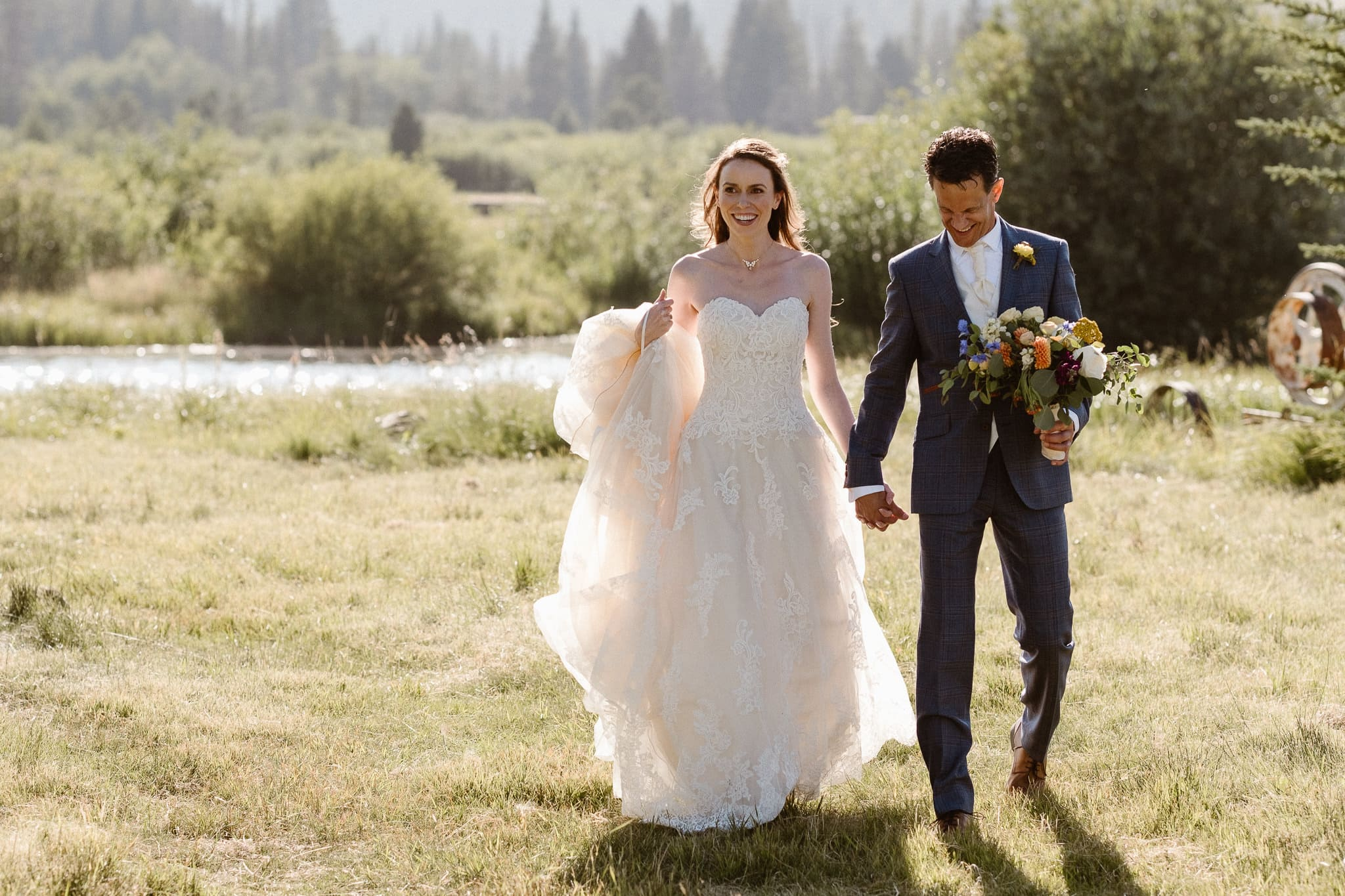 Red Feather Lakes elopement photographer, Colorado intimate cabin wedding, bride and groom portraits in mountain meadow
