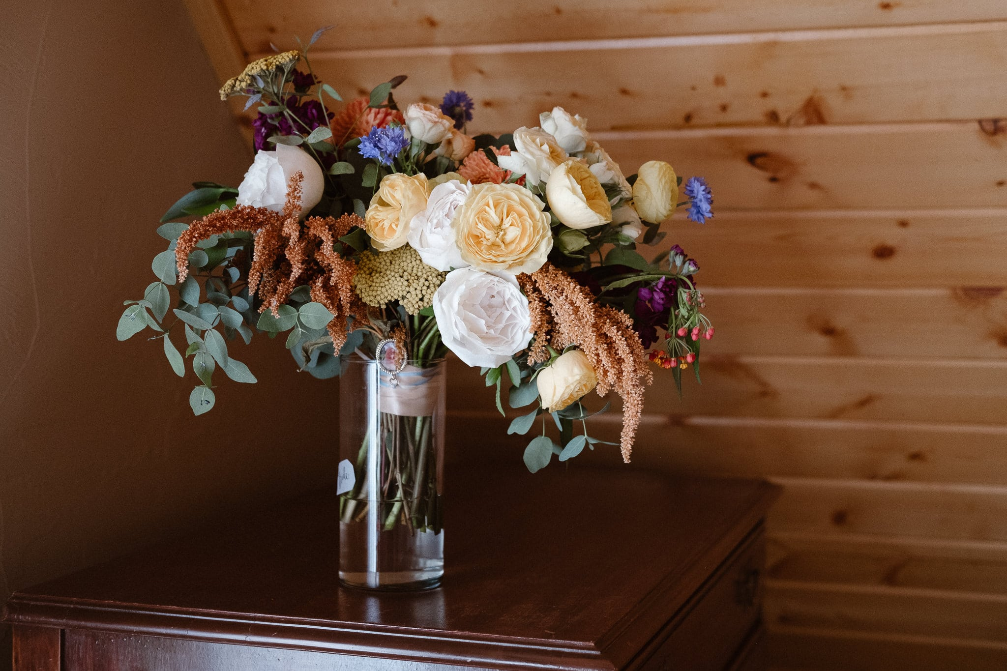 Red Feather Lakes elopement photographer, Colorado intimate cabin wedding, wedding bouquet by Lace & Lilies