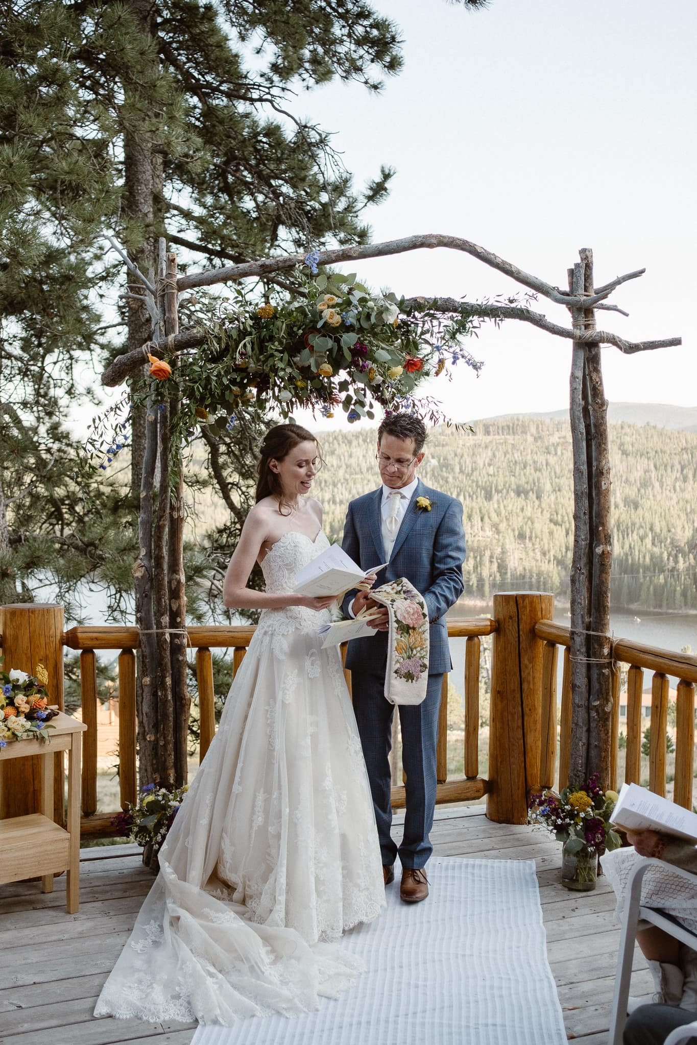Red Feather Lakes elopement photographer, Colorado intimate cabin wedding, cabin wedding ceremony, handfasting wedding ceremony