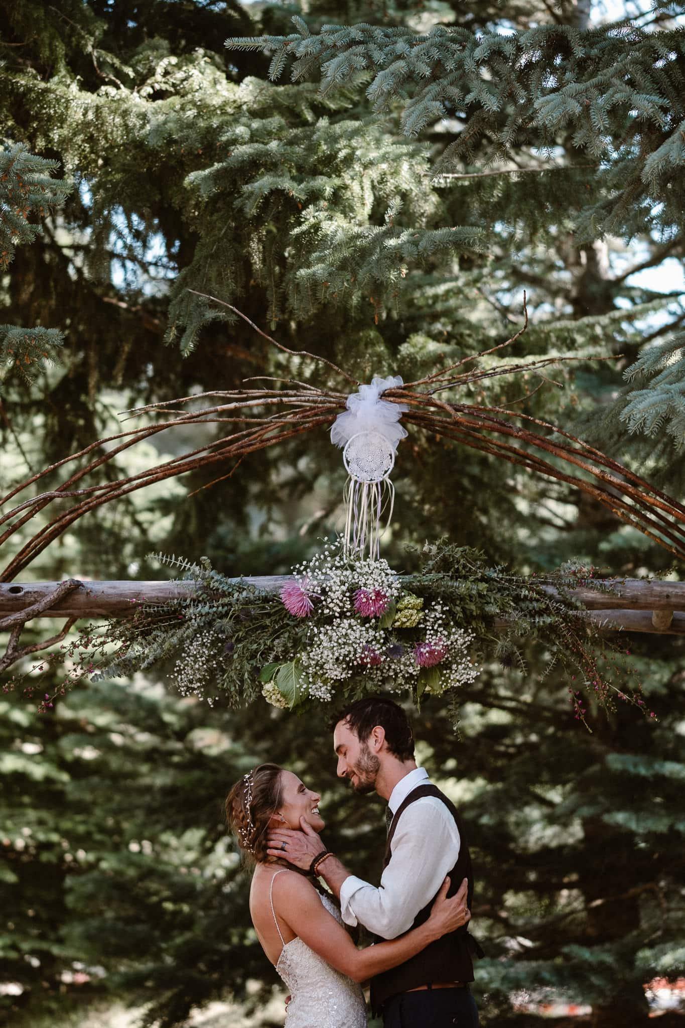 Redstone Inn wedding photographer, Carbondale wedding photographer, Colorado intimate wedding photographer, wedding ceremony first kiss