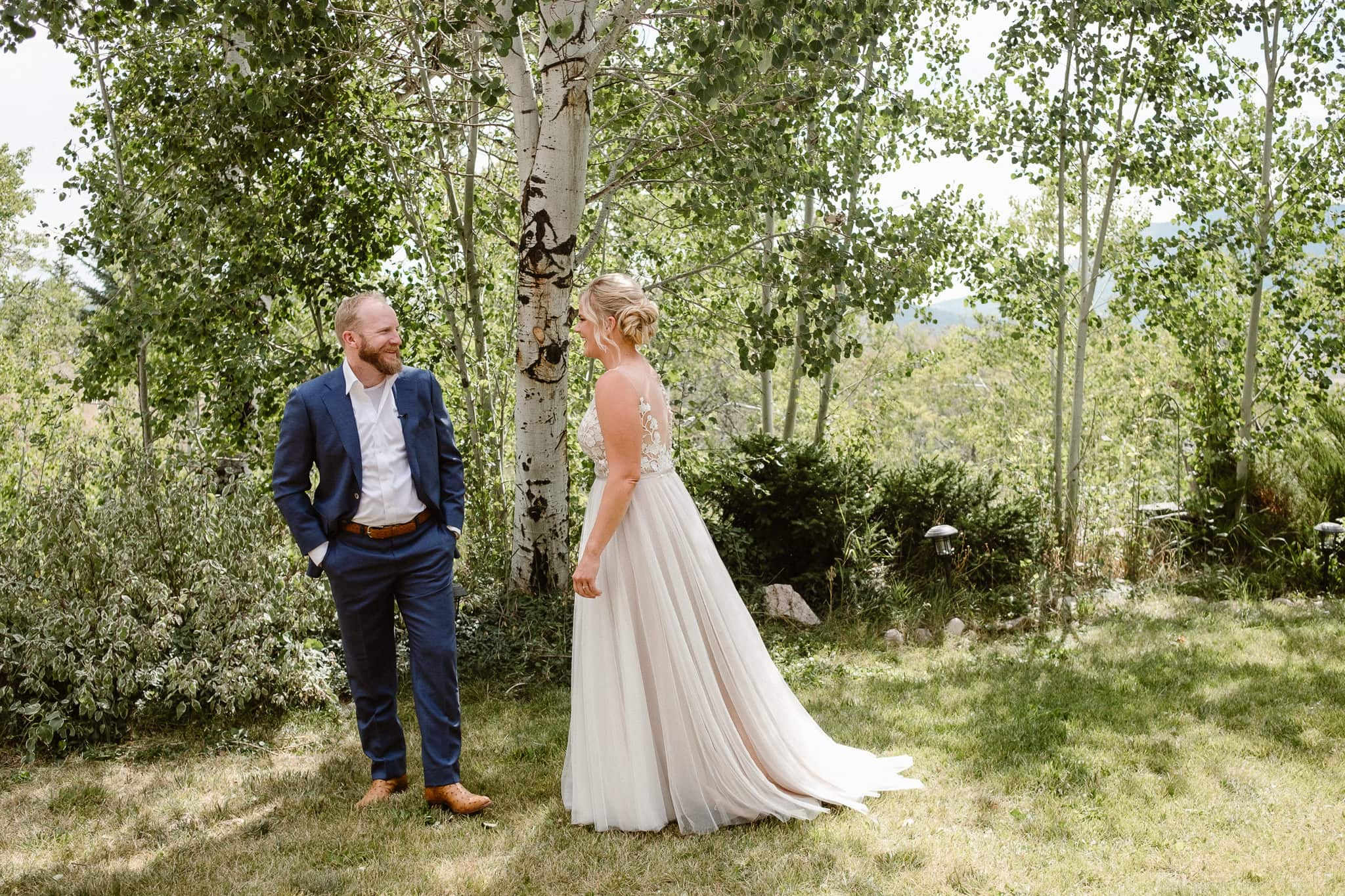 Steamboat Springs wedding photographer, La Joya Dulce wedding, Colorado ranch wedding venues, bride and groom first look, first look photos, wedding photographs