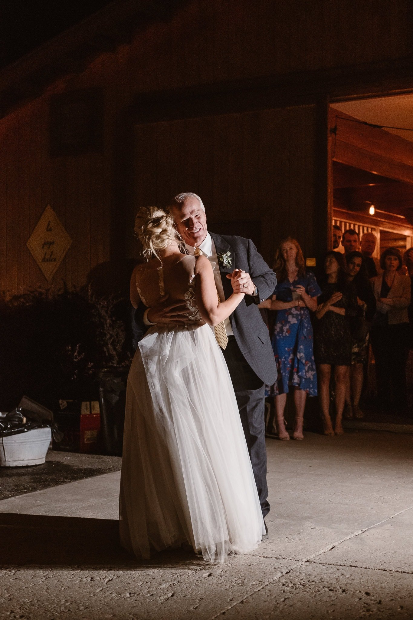 Steamboat Springs wedding photographer, La Joya Dulce wedding, Colorado ranch wedding venues, bride and father dancing