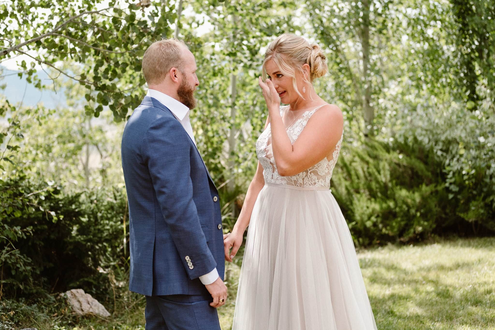 Steamboat Springs wedding photographer, La Joya Dulce wedding, Colorado ranch wedding venues, bride crying at first look