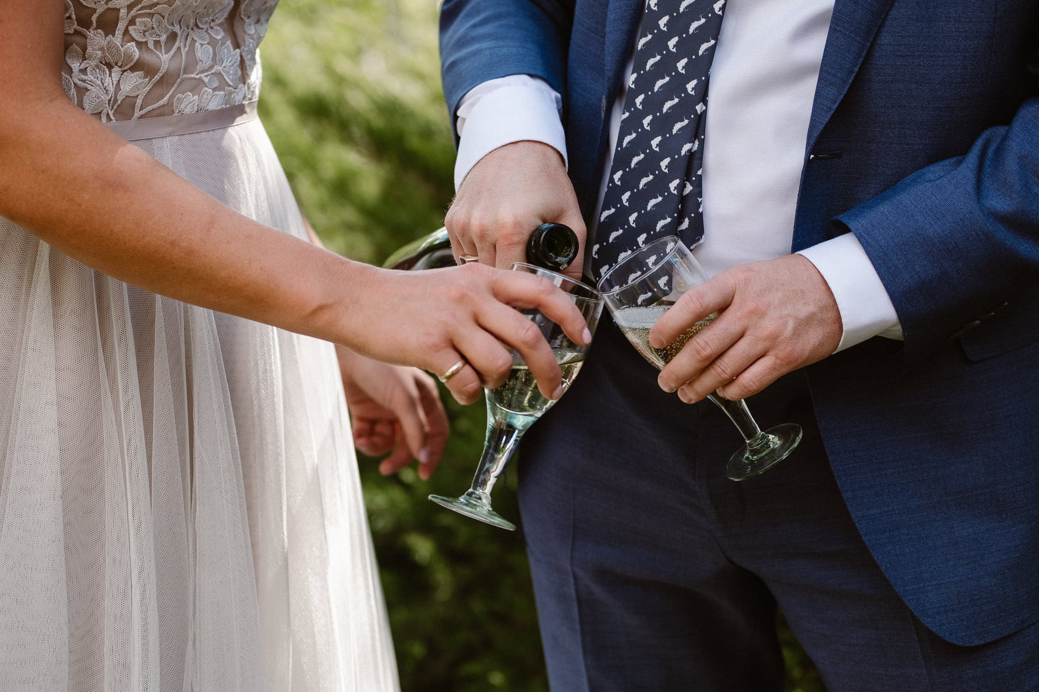 Steamboat Springs wedding photographer, La Joya Dulce wedding, Colorado ranch wedding venues, bride and groom drinking champagne