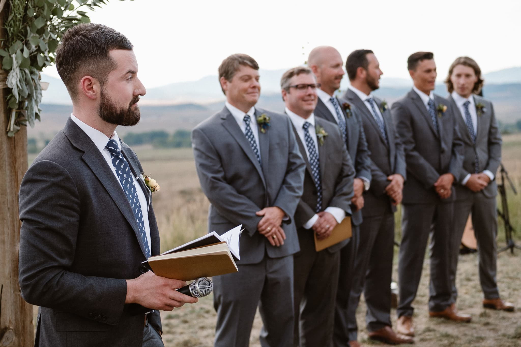 Steamboat Springs wedding photographer, La Joya Dulce wedding, Colorado ranch wedding venues, outdoor wedding ceremony, groomsmen waiting