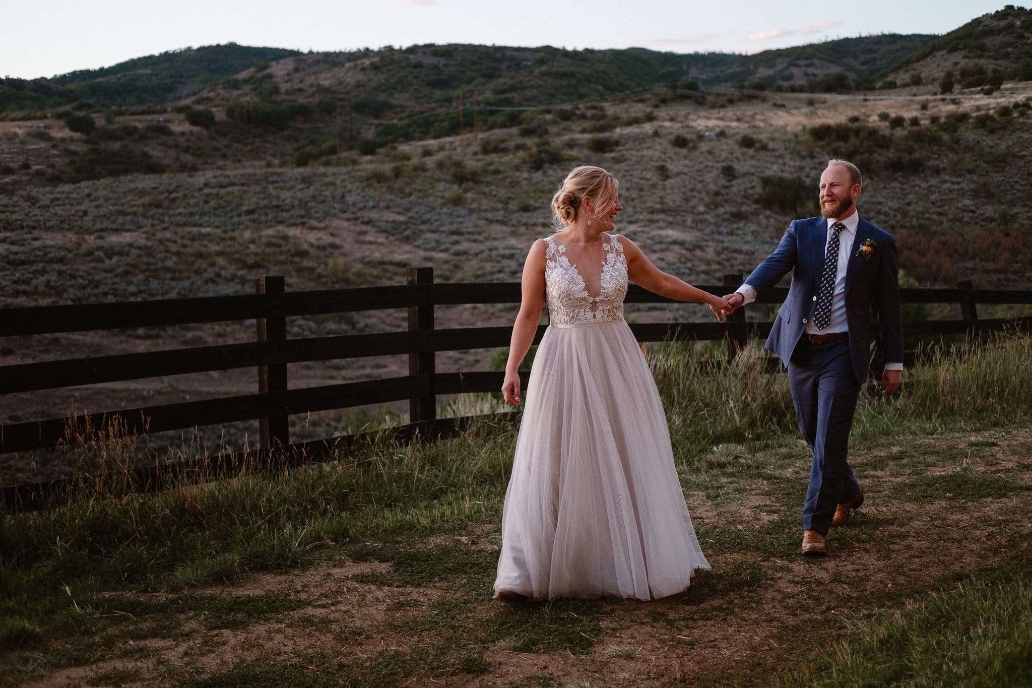 Steamboat Springs wedding photographer, La Joya Dulce wedding, Colorado ranch wedding venues, bride and groom portraits at sunset, blue hour wedding photography