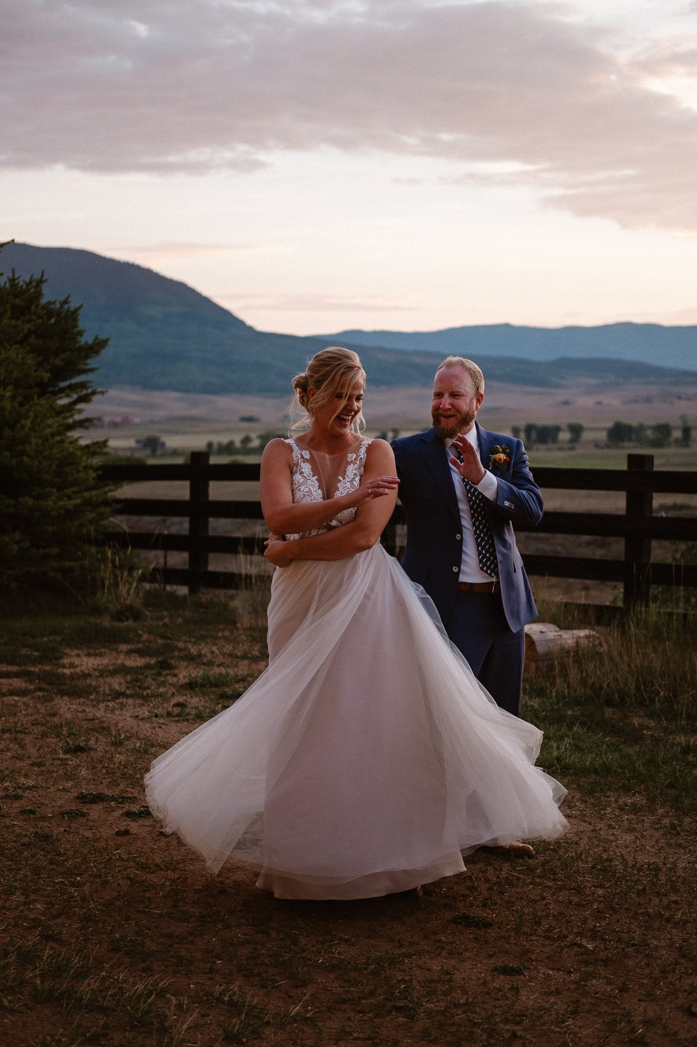 Steamboat Springs wedding photographer, La Joya Dulce wedding, Colorado ranch wedding venues, bride and groom portraits at sunset, bride and groom dancing