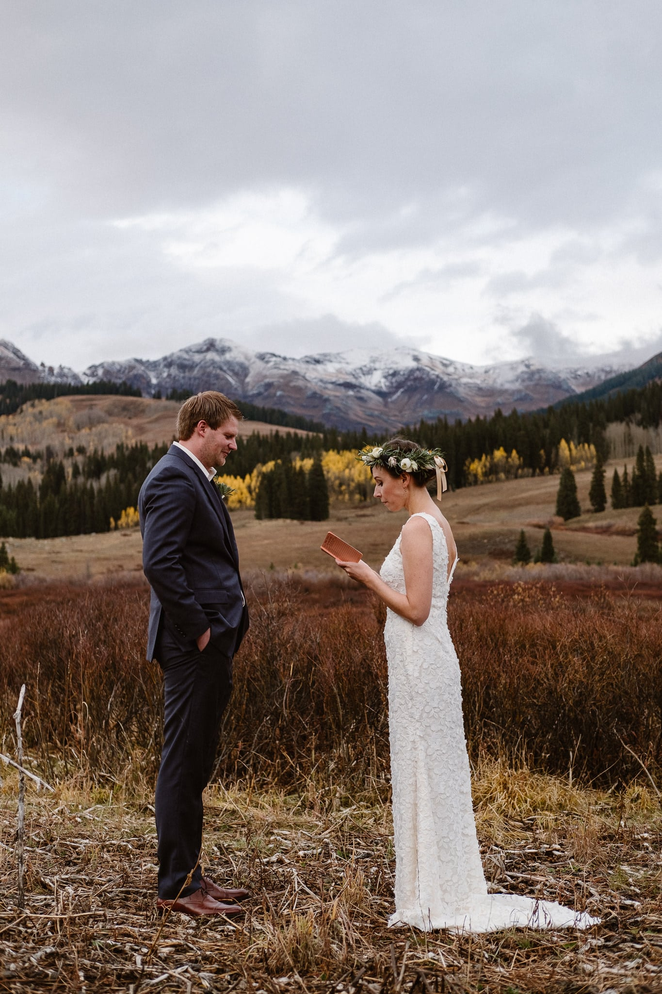 Crested Butte Wedding Photographer, Scarp Ridge Lodge intimate elopement, self solemnized elopement in Colorado, bride and groom portraits, Colorado mountain adventure wedding