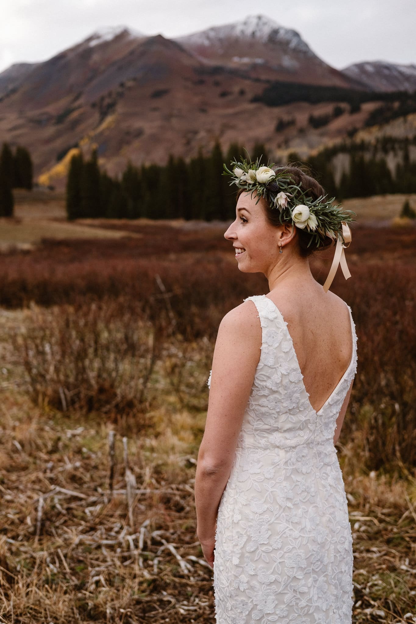 Crested Butte Wedding Photographer, Scarp Ridge Lodge intimate elopement, self solemnized elopement in Colorado, bride and groom portraits, Colorado mountain adventure wedding, bride wearing floral crown