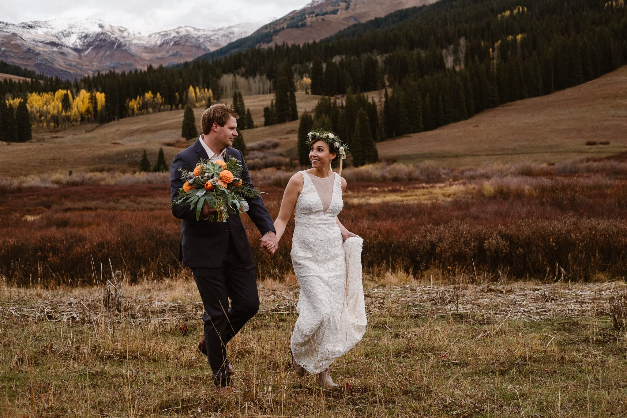 Crested Butte Wedding Photographer, Scarp Ridge Lodge intimate elopement, self solemnized elopement in Colorado, Colorado mountain adventure wedding, bride and groom portraits,