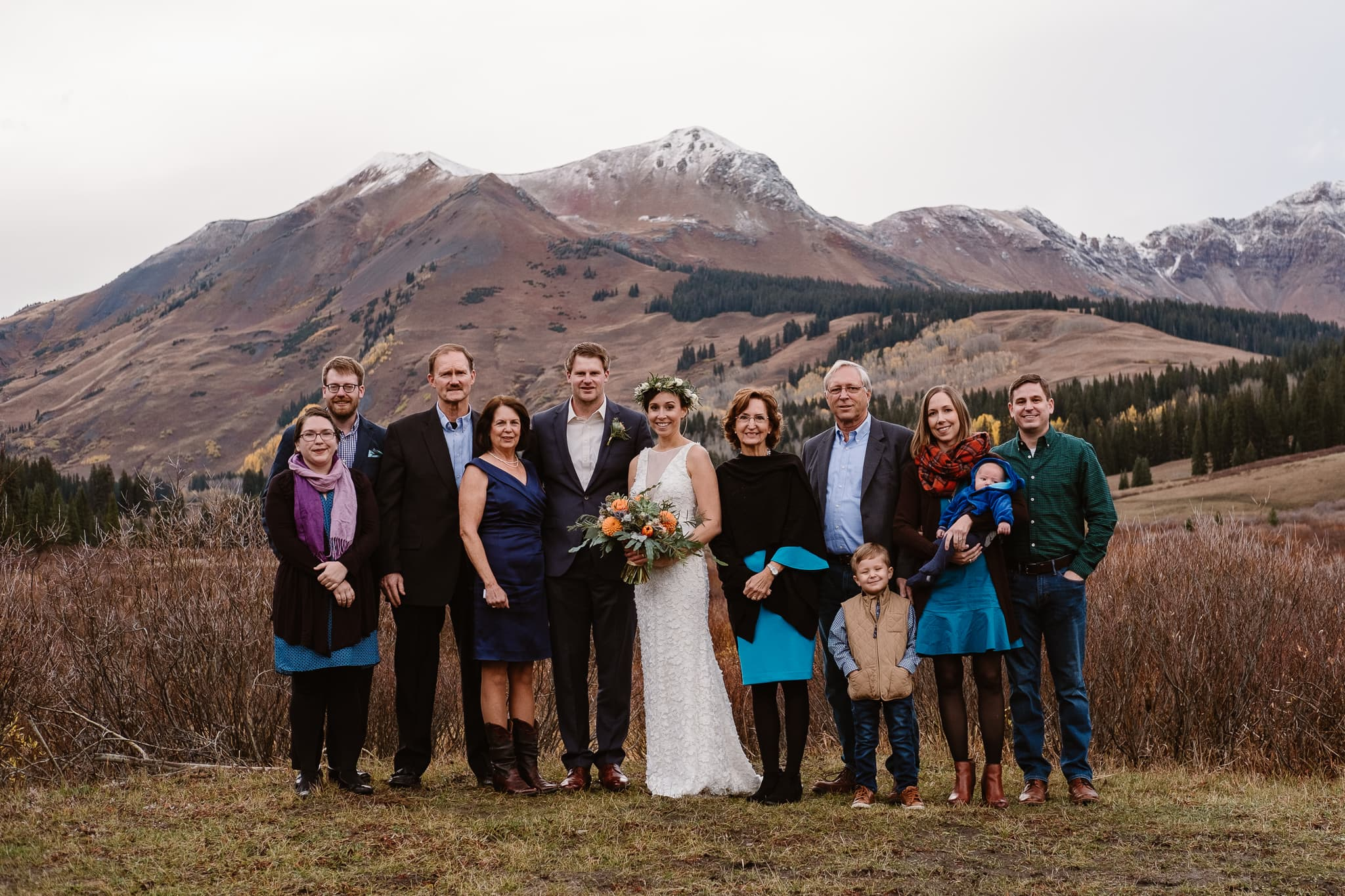 Crested Butte Wedding Photographer, Scarp Ridge Lodge intimate elopement, outdoor elopement in Colorado, Colorado mountain adventure wedding, group photo with guests