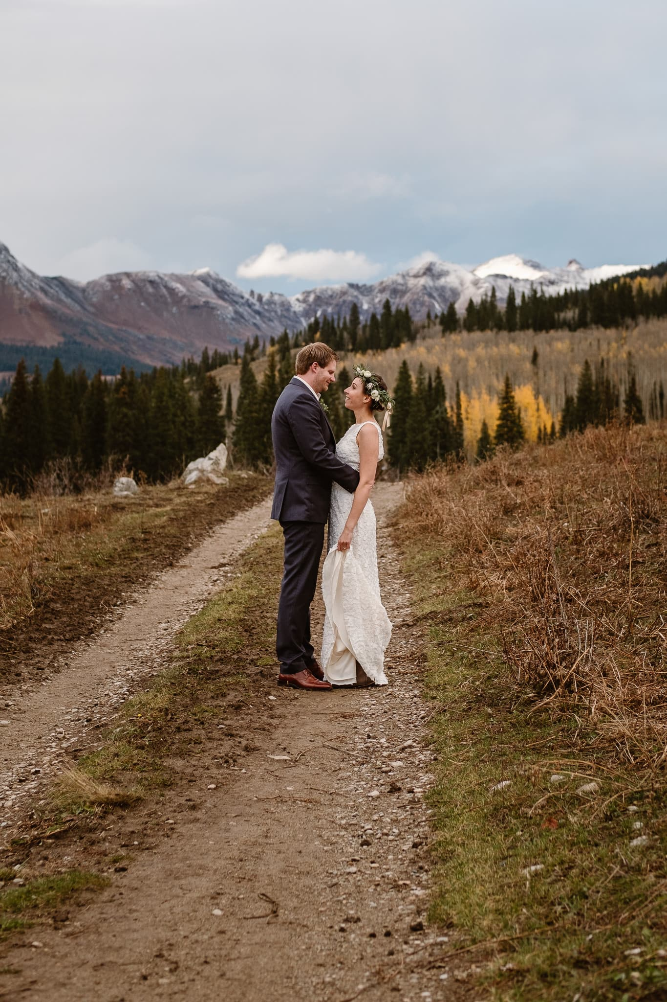 Crested Butte Wedding Photographer, Scarp Ridge Lodge intimate elopement, outdoor elopement in Colorado, Colorado mountain adventure wedding, bride and groom hiking portraits