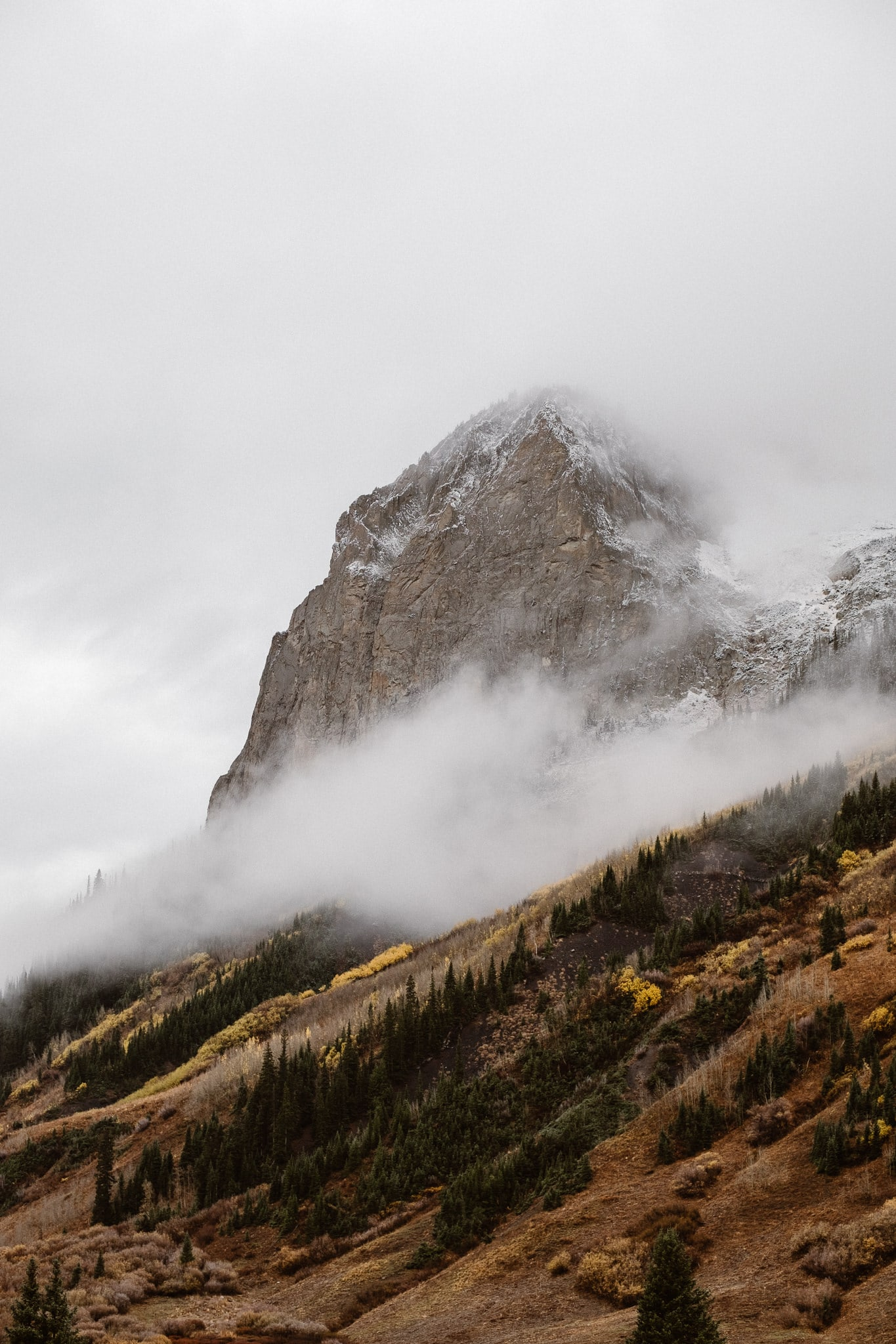 Crested Butte mountain landscape in winter, moody winter landscape photography