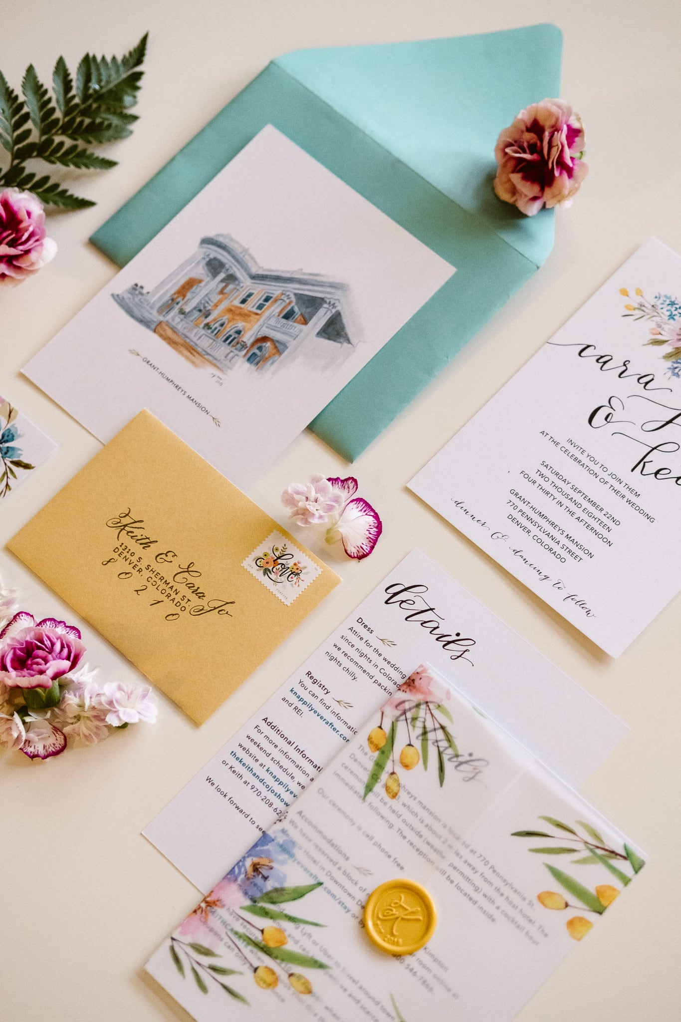 Grant Humphreys Mansion Wedding Photographer, Denver wedding photographer, Colorado wedding photographer, watercolor wedding invitations, hand painted wedding stationery