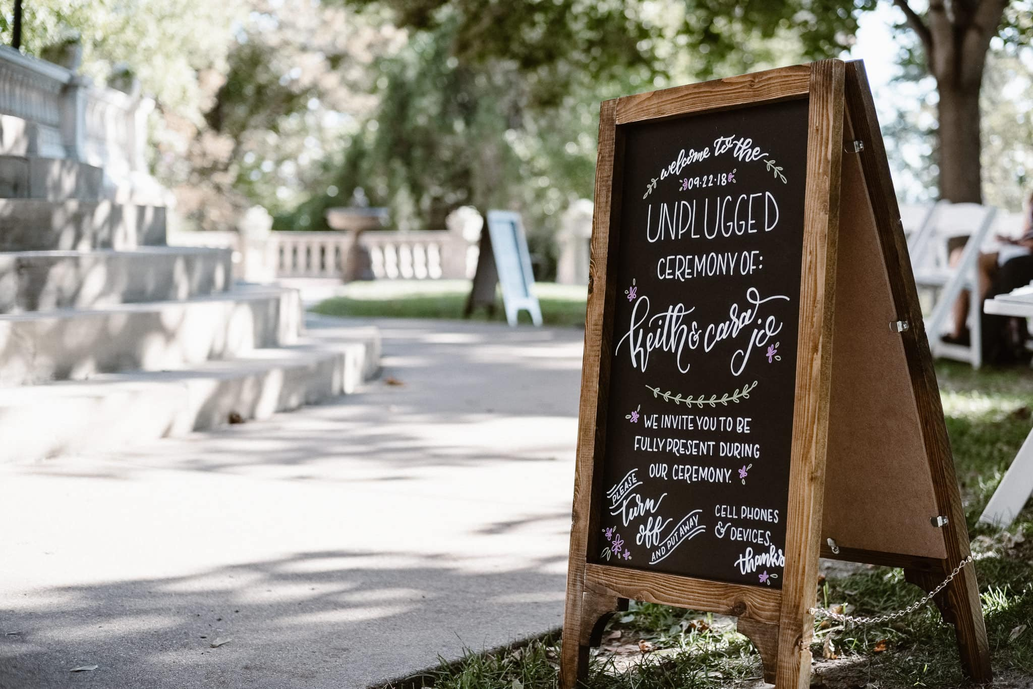 Grant Humphreys Mansion Wedding Photographer, Denver wedding photographer, Colorado wedding photographer, unplugged wedding ceremony chalkboard sign