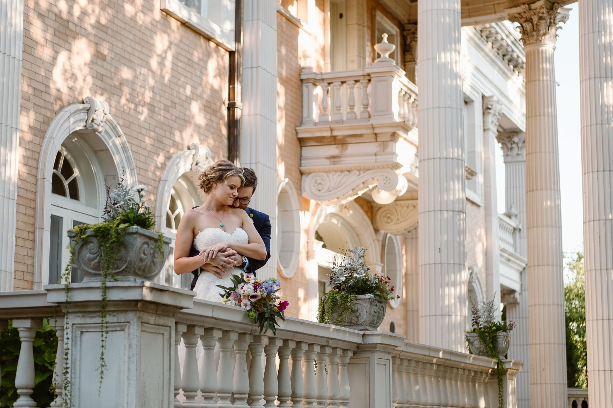 Grant Humphreys Mansion Wedding Photographer, French chateau wedding, Denver wedding photographer, Colorado wedding venue, bride and groom portraits, intimate wedding