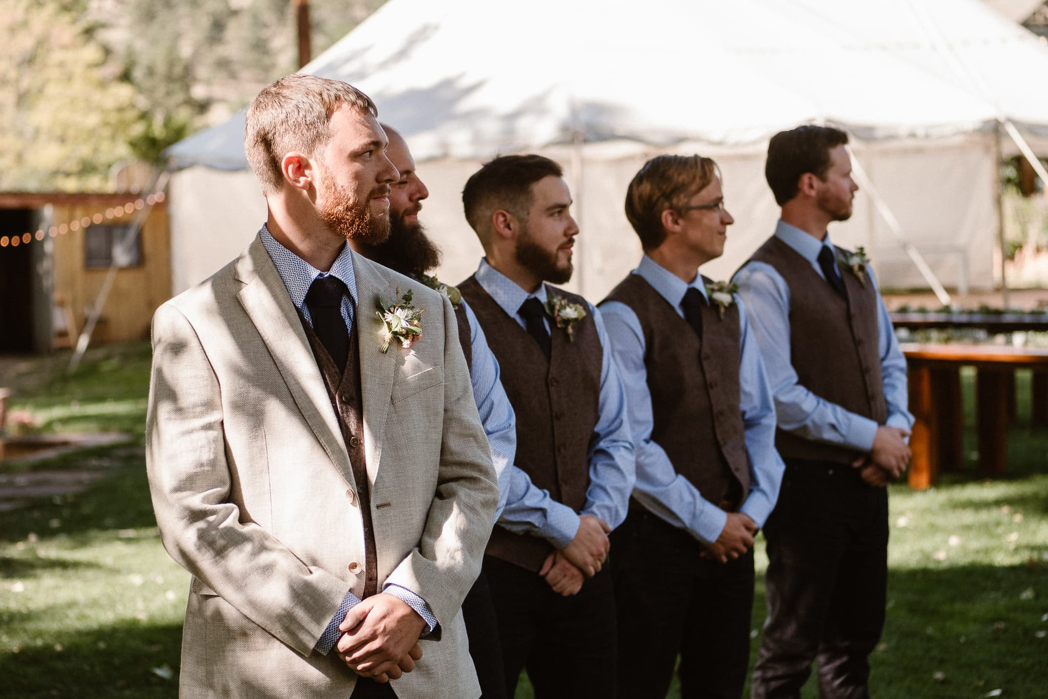Lyons Farmette wedding photographer, Colorado intimate wedding photographer, wedding ceremony, groom watching bride walk down the aisle