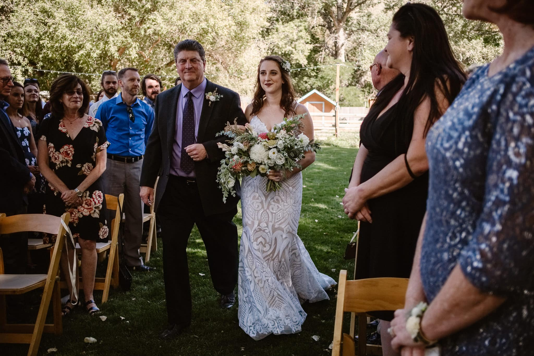 Lyons Farmette wedding photographer, Colorado intimate wedding photographer, wedding ceremony, bride and father walking down aisle