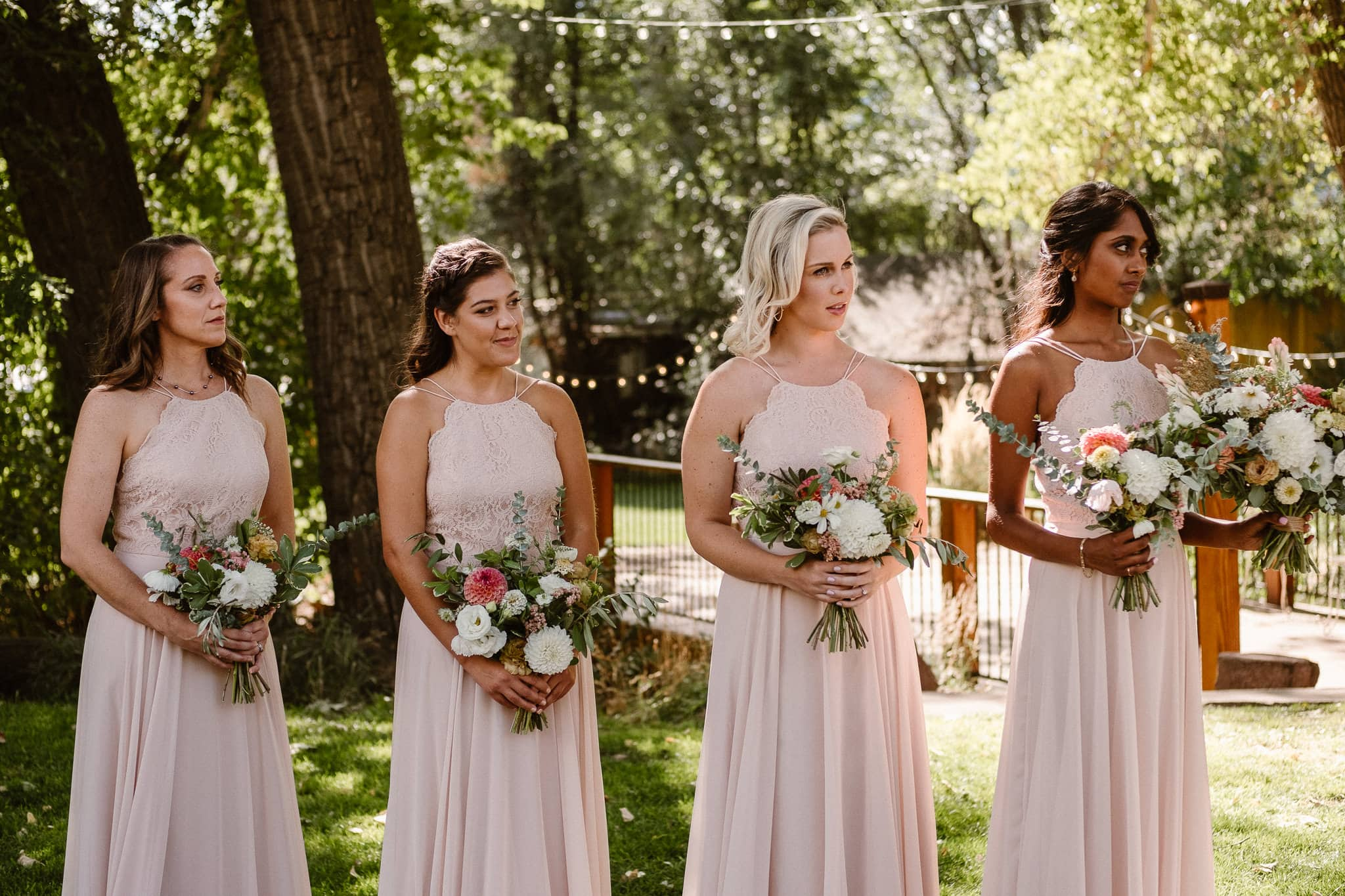 Lyons Farmette wedding photographer, Colorado intimate wedding photographer, wedding ceremony, bridesmaids in dusty pink dresses