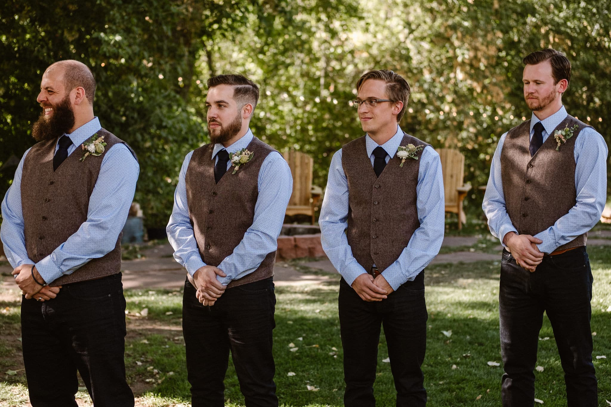 Lyons Farmette wedding photographer, Colorado intimate wedding photographer, wedding ceremony, groomsmen