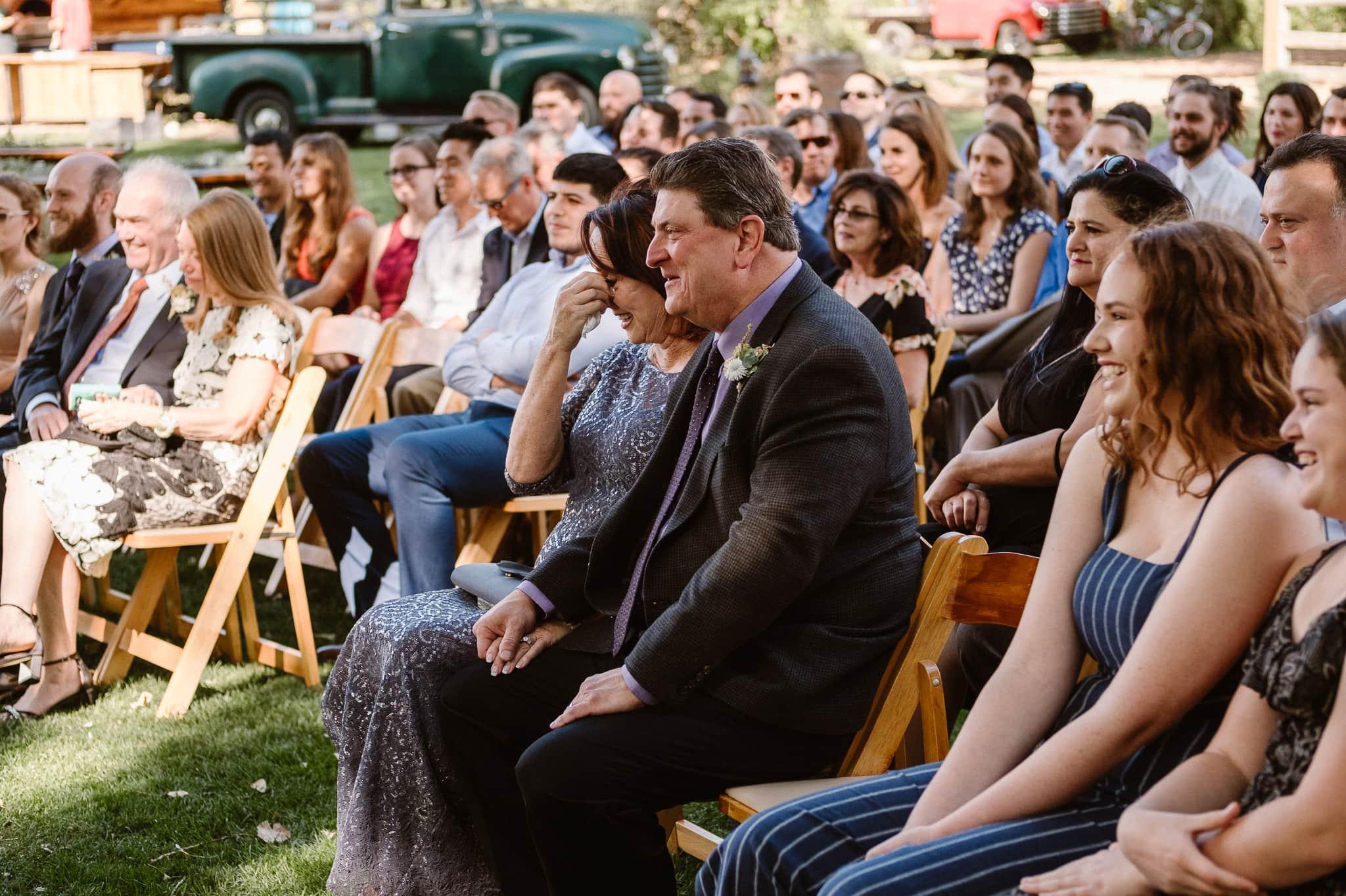 Lyons Farmette wedding photographer, Colorado intimate wedding photographer, wedding ceremony, wedding photos, bride's mother crying