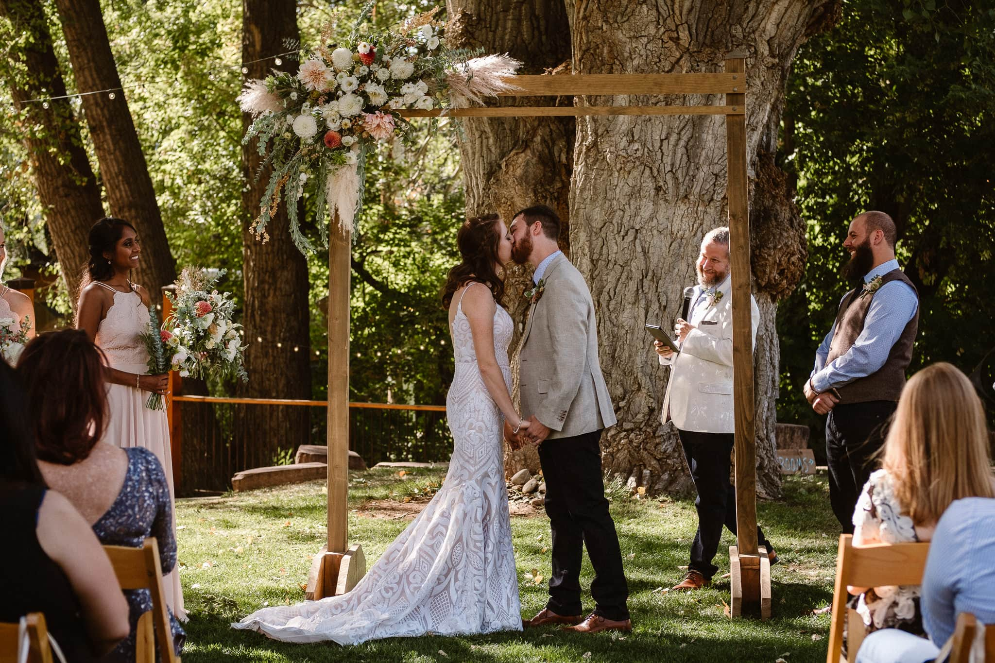 Lyons Farmette wedding photographer, Colorado intimate wedding photographer, wedding ceremony, wedding photos, first kiss