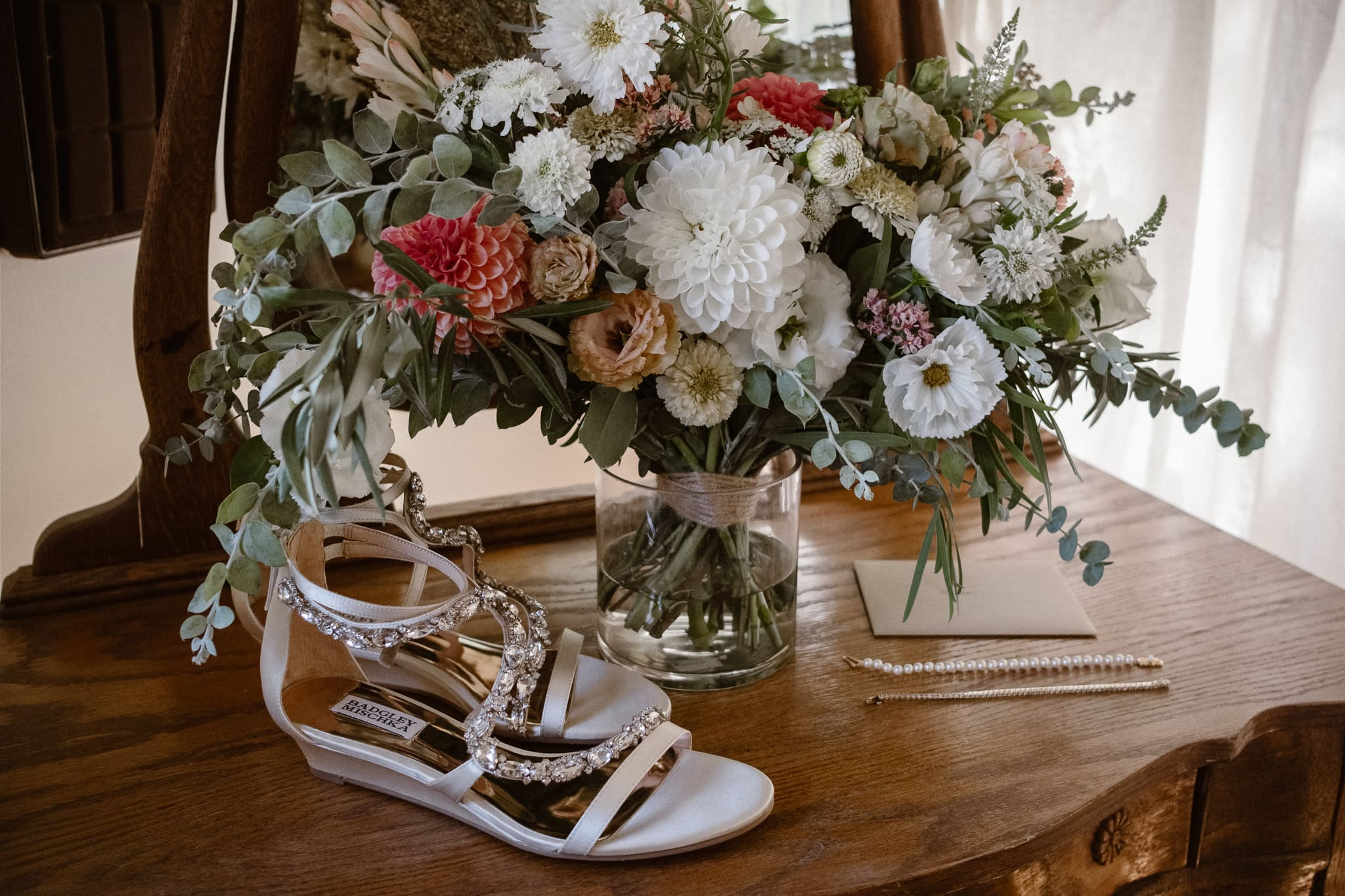 Lyons Farmette wedding photographer, Colorado intimate wedding photographer, wedding bouquet, bride's shoes and jewelry