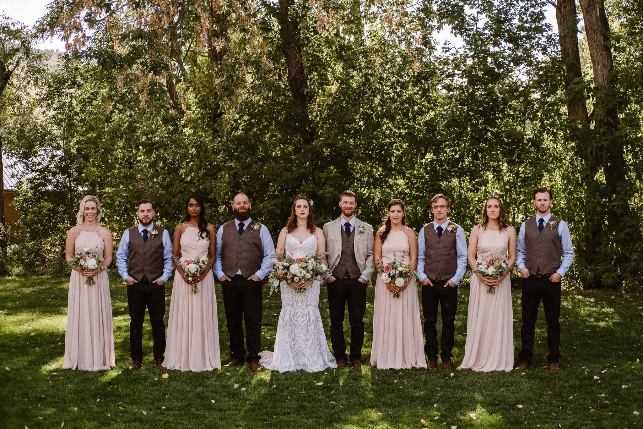 Lyons Farmette wedding photographer, Colorado intimate wedding photographer, wedding party photo, bridesmaids in dusty pink dresses, groomsmen wearing vests