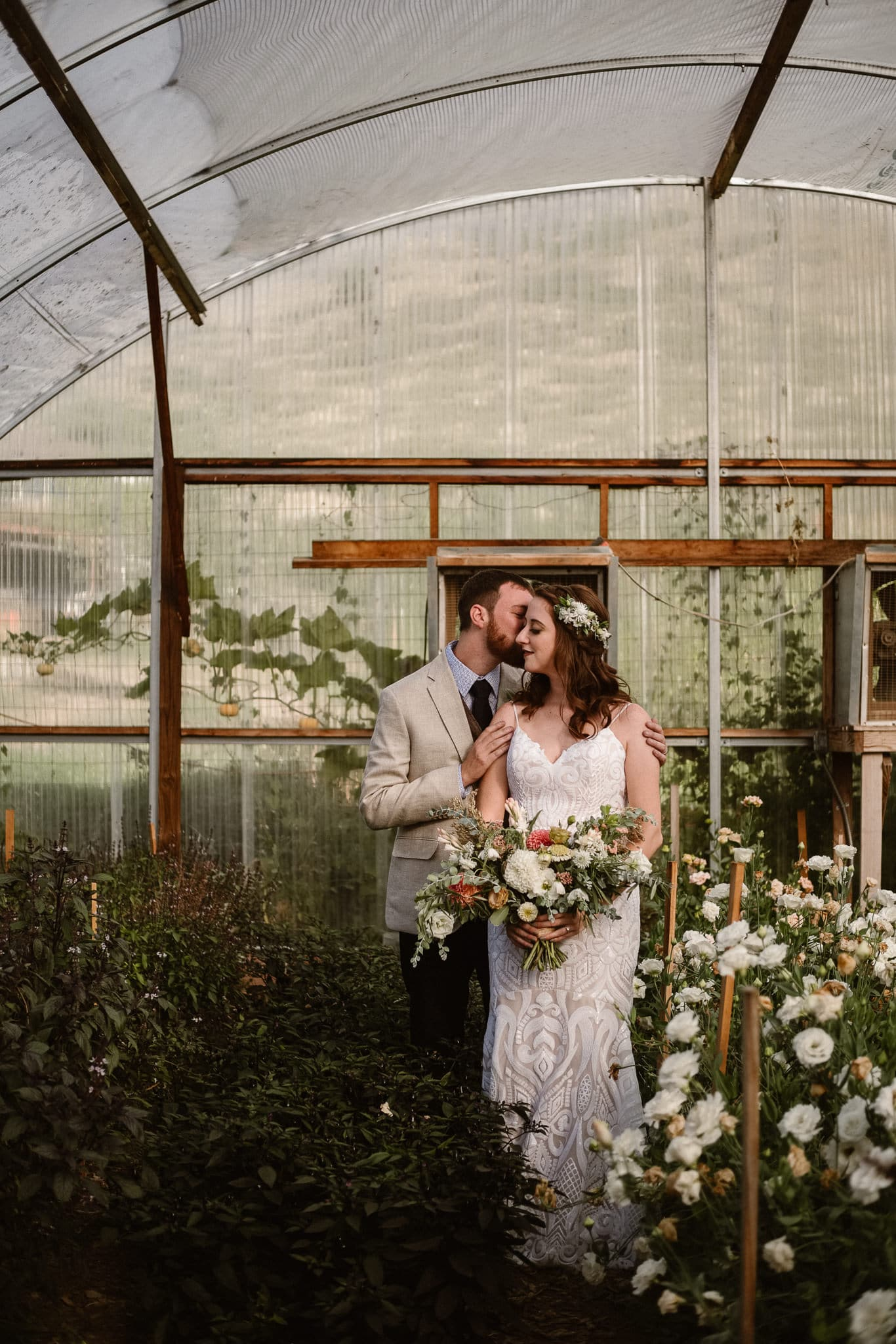 Lyons Farmette wedding photographer, Colorado intimate wedding photographer, bride and groom photos in greenhouse