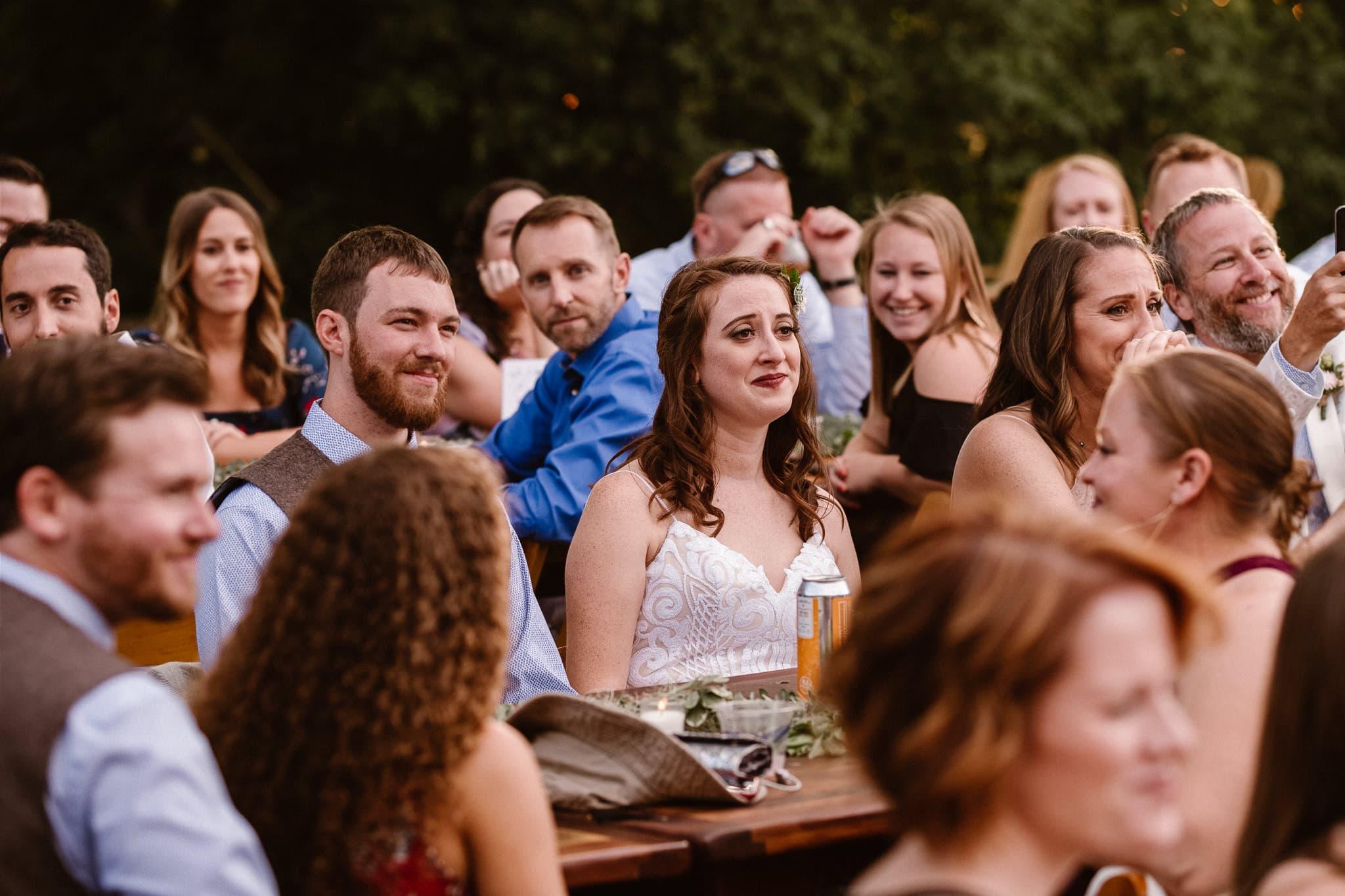 Lyons Farmette wedding photographer, Colorado intimate wedding photographer, cocktail hour photos, welcome toast