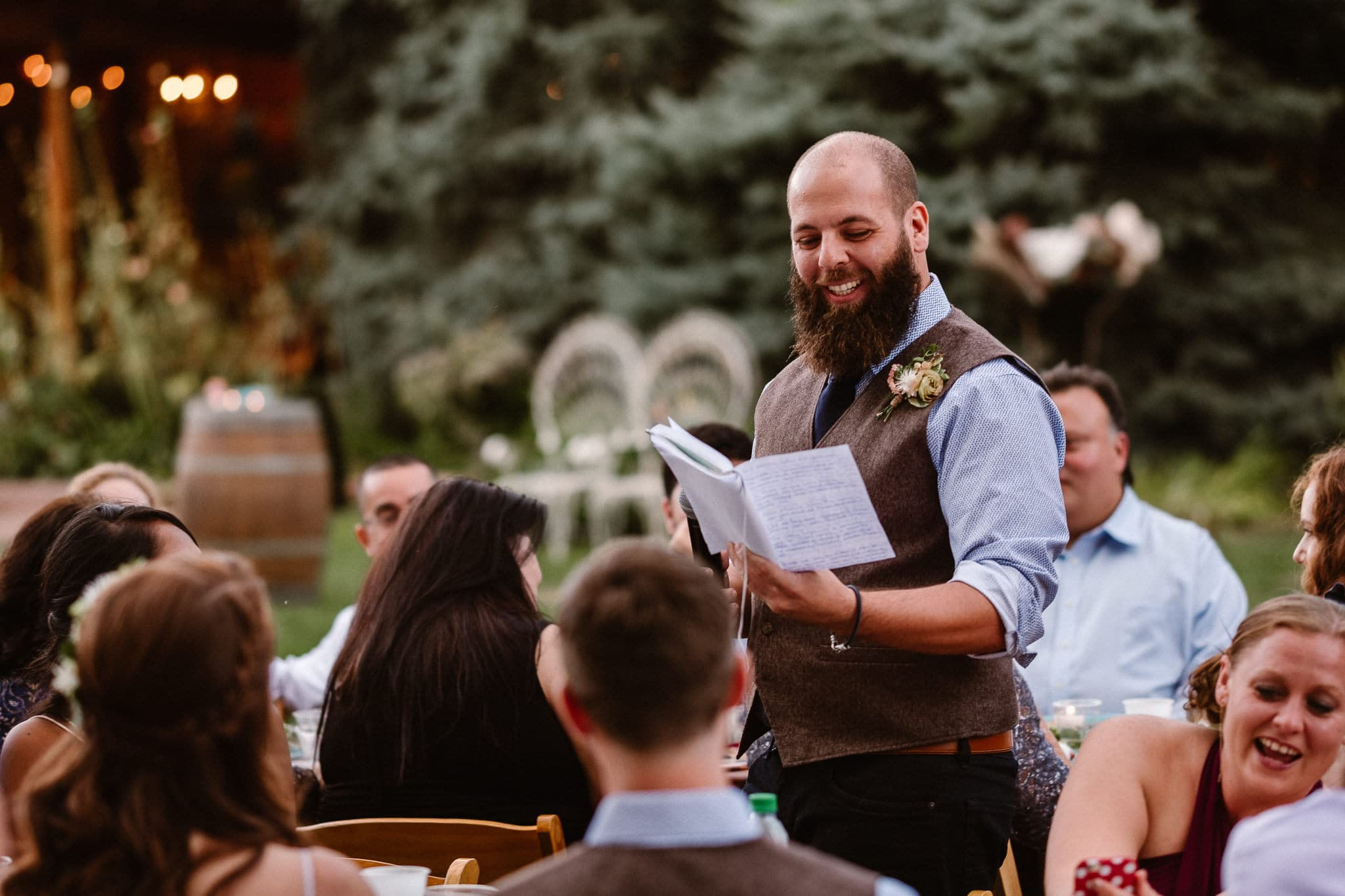 Lyons Farmette wedding photographer, Colorado intimate wedding photographer, wedding toasts, groomsman toast