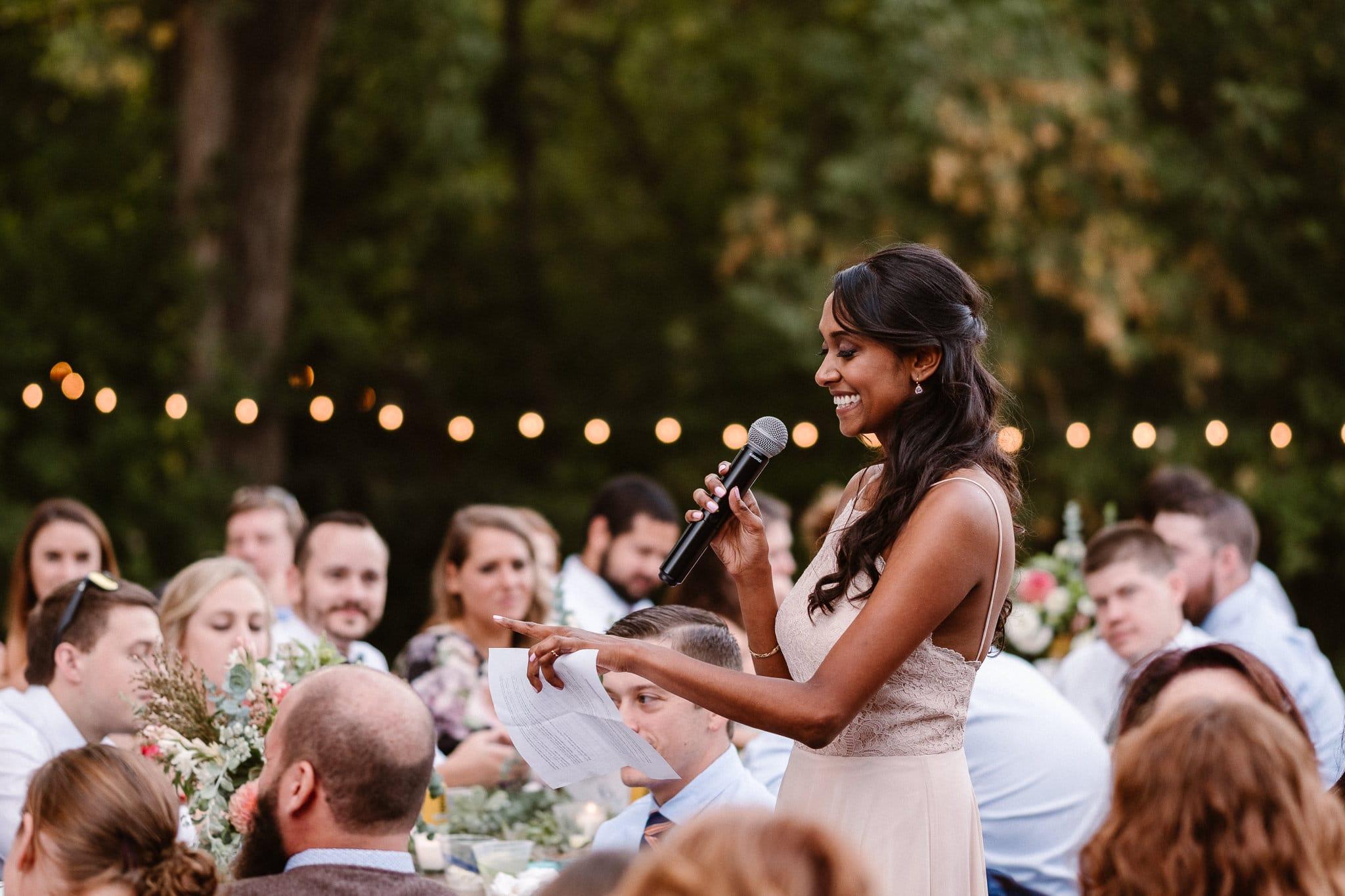 Lyons Farmette wedding photographer, Colorado intimate wedding photographer, wedding toasts, maid of honor toast
