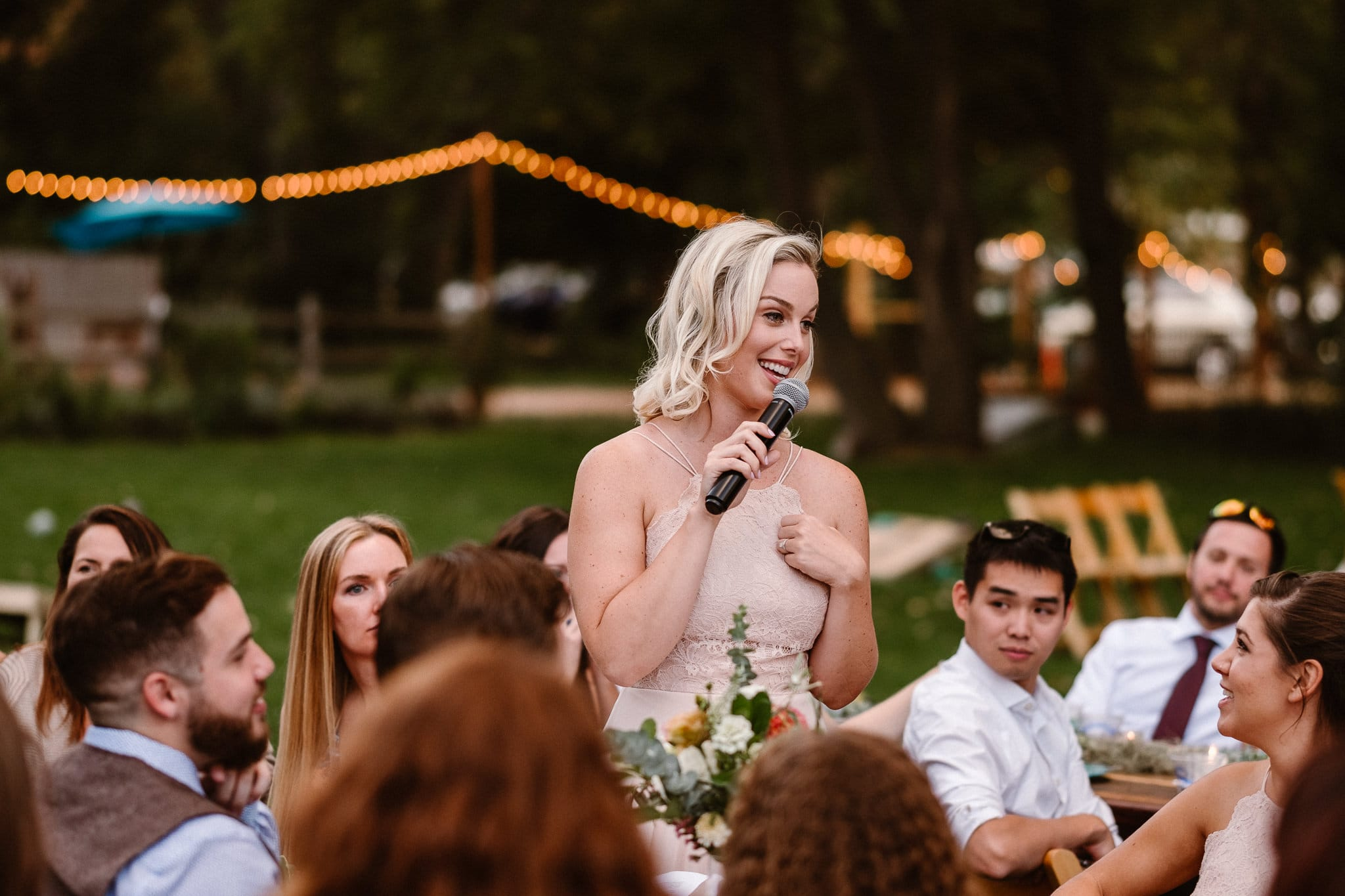 Lyons Farmette wedding photographer, Colorado intimate wedding photographer, wedding toasts, maid of honor toast