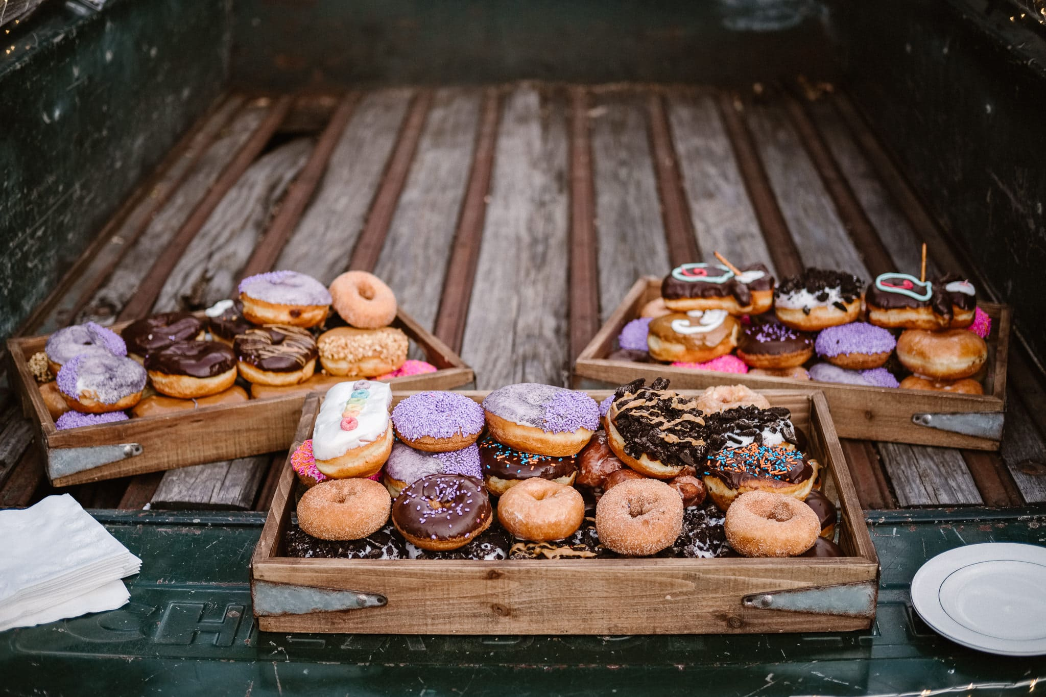 Lyons Farmette wedding photographer, Colorado intimate wedding photographer, wedding donuts by Voodoo Doughnut