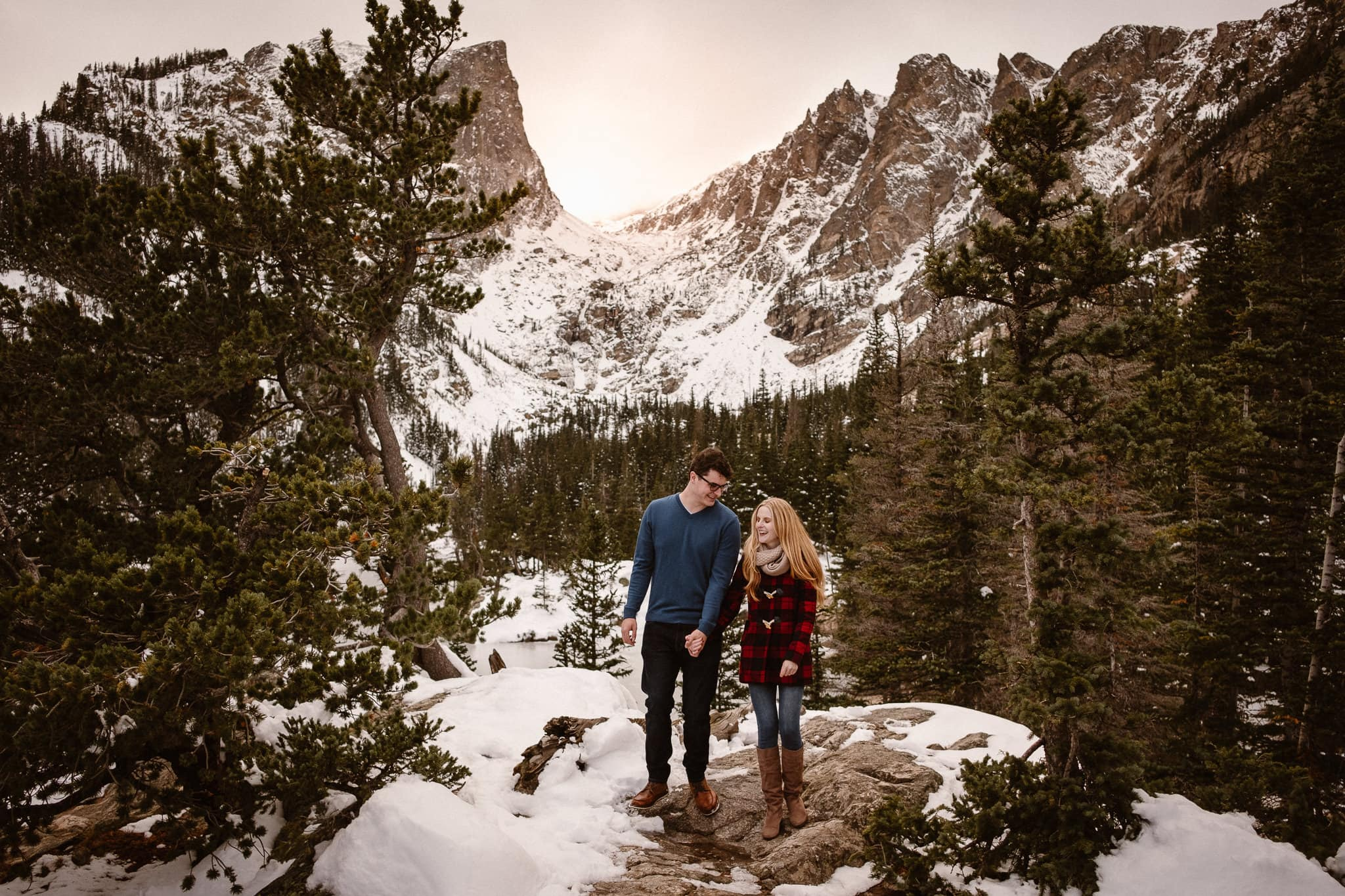 RMNP Engagement Photographer, winter engagement session, Dream Lake, Rocky Mountain National Park engagement, hiking engagement, couples portraits, Colorado engagement photographer, alpine lake, mountain views