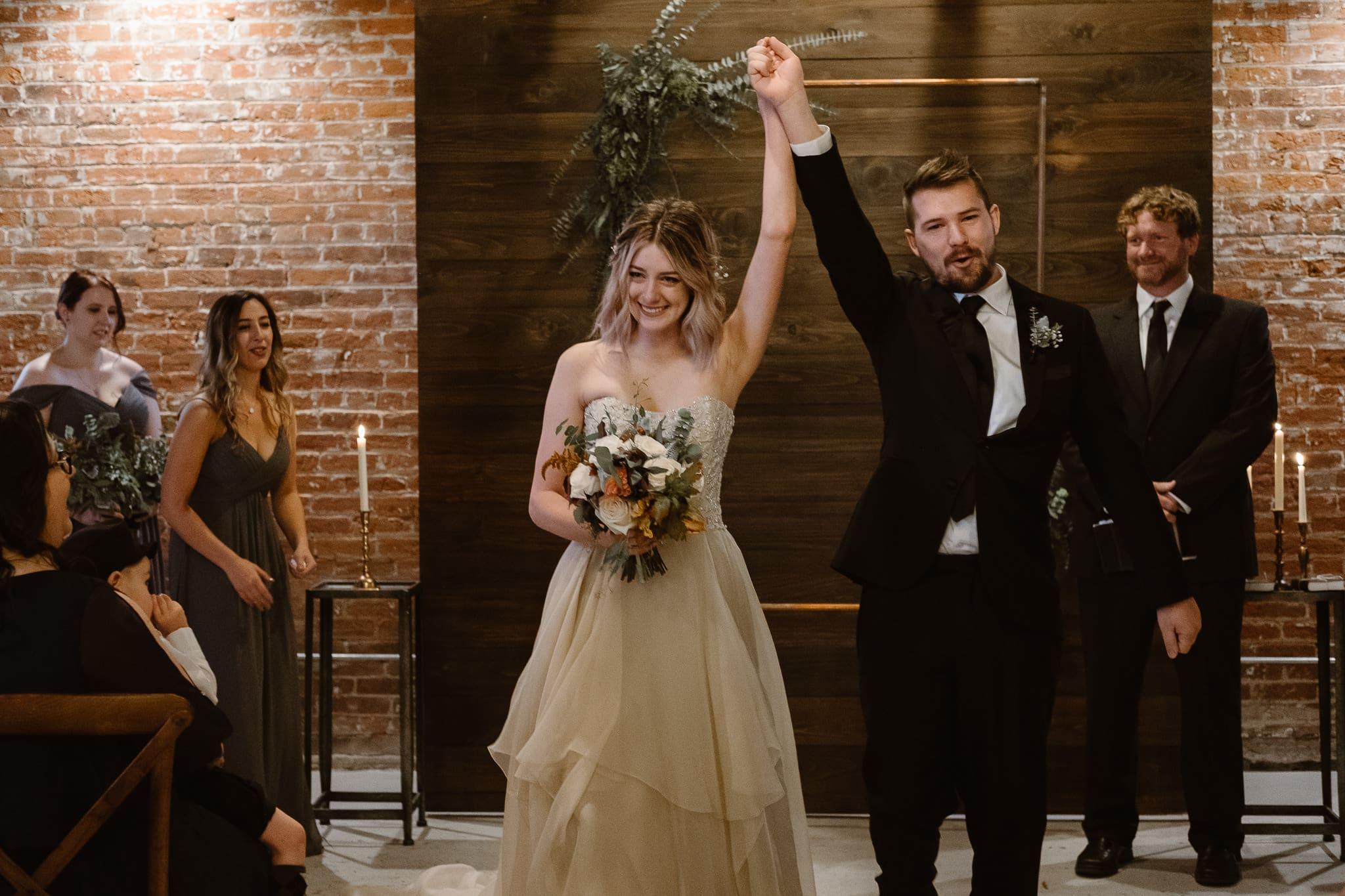St Vrain Wedding Photographer | Longmont Wedding Photographer | Colorado Winter Wedding Photographer, Colorado industrial chic wedding ceremony, ceremony recessional
