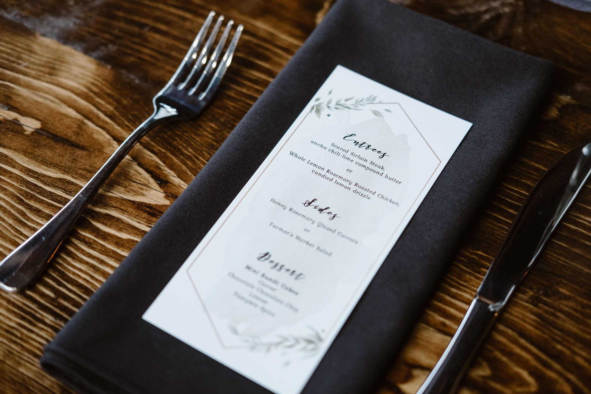 St Vrain Wedding Photographer | Longmont Wedding Photographer | Colorado Winter Wedding Photographer, Colorado industrial chic wedding ceremony, reception decor with navy and dark wood, menu cards, place setting