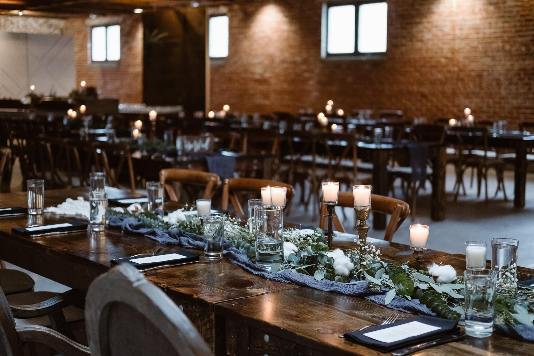 St Vrain Wedding Photographer | Longmont Wedding Photographer | Colorado Winter Wedding Photographer, Colorado industrial chic wedding ceremony, reception decor with navy and dark wood, planning by Brindle + Oak