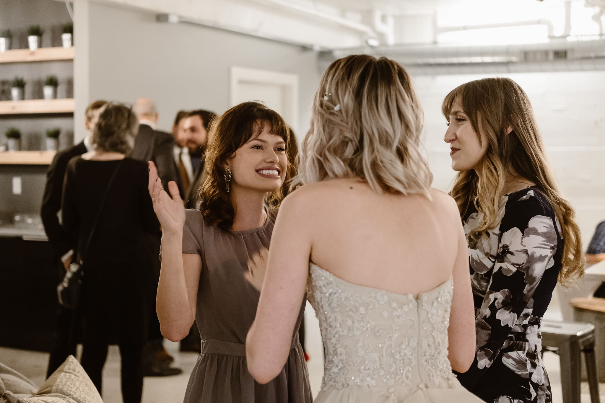 St Vrain Wedding Photographer | Longmont Wedding Photographer | Colorado Winter Wedding Photographer, Colorado industrial chic wedding ceremony, cocktail hour photos