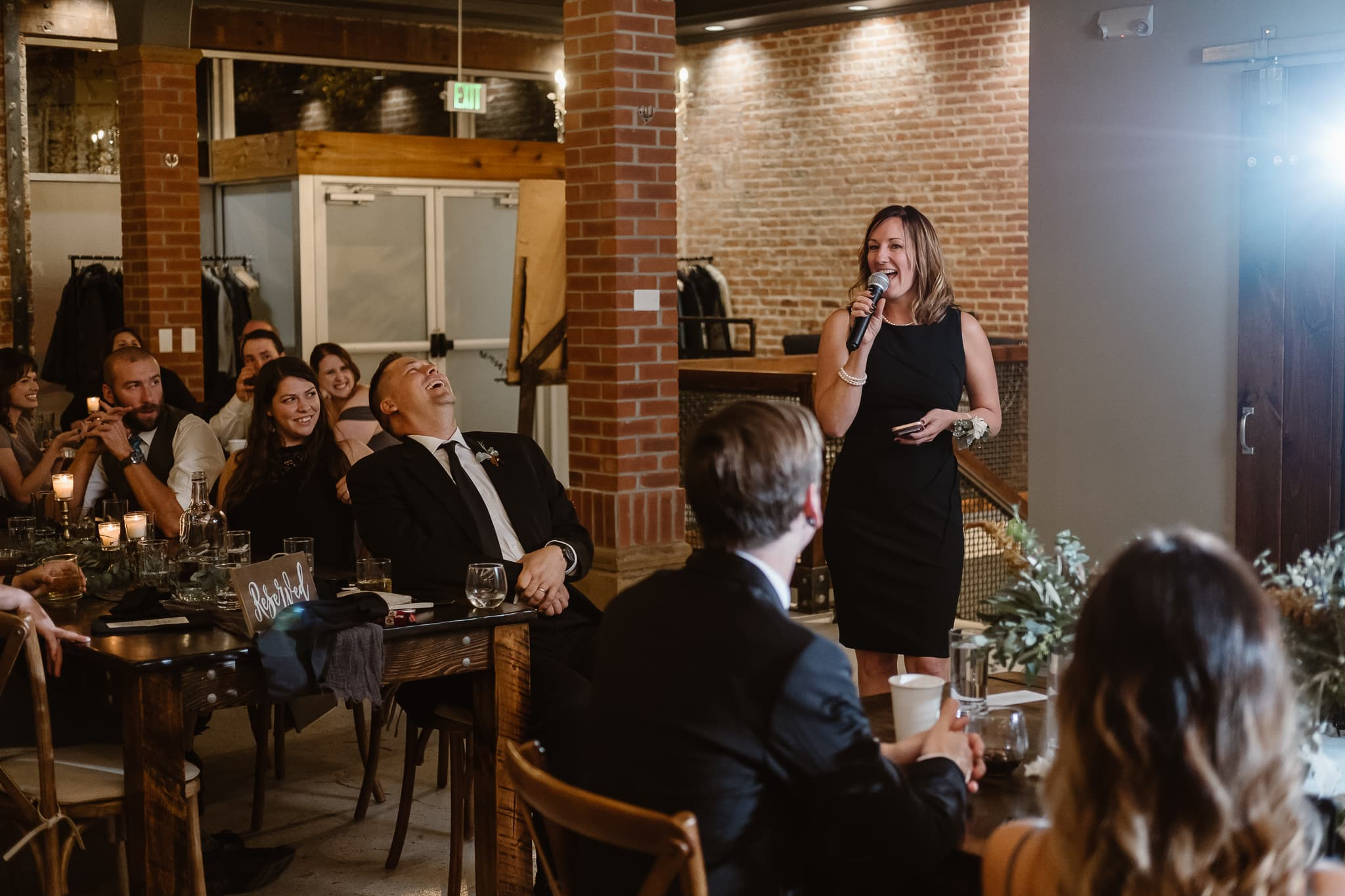 St Vrain Wedding Photographer | Longmont Wedding Photographer | Colorado Winter Wedding Photographer, Colorado industrial chic wedding ceremony, wedding toasts