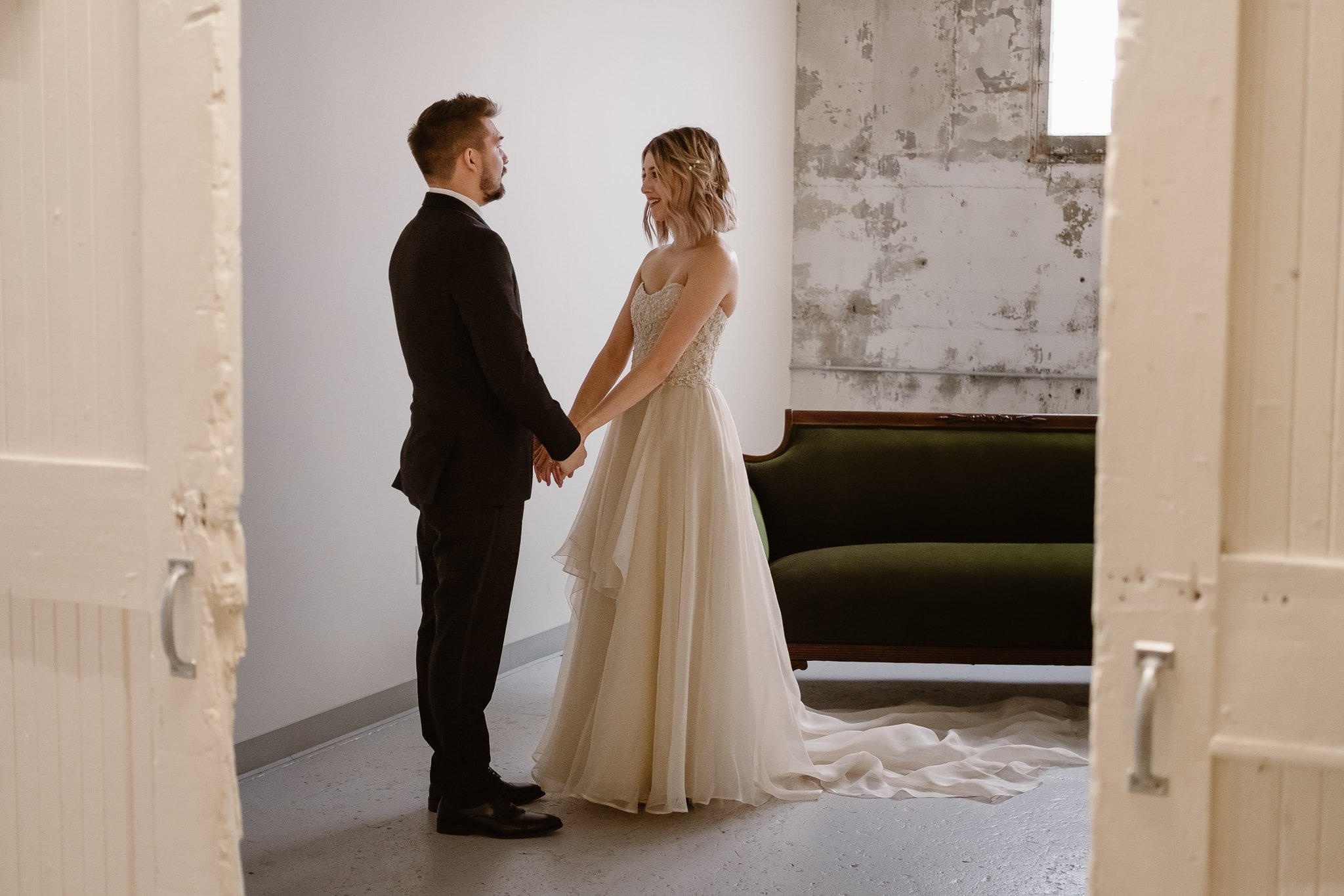 St Vrain Wedding Photographer | Longmont Wedding Photographer | Colorado Winter Wedding Photographer, Colorado industrial chic wedding, bride and groom first look