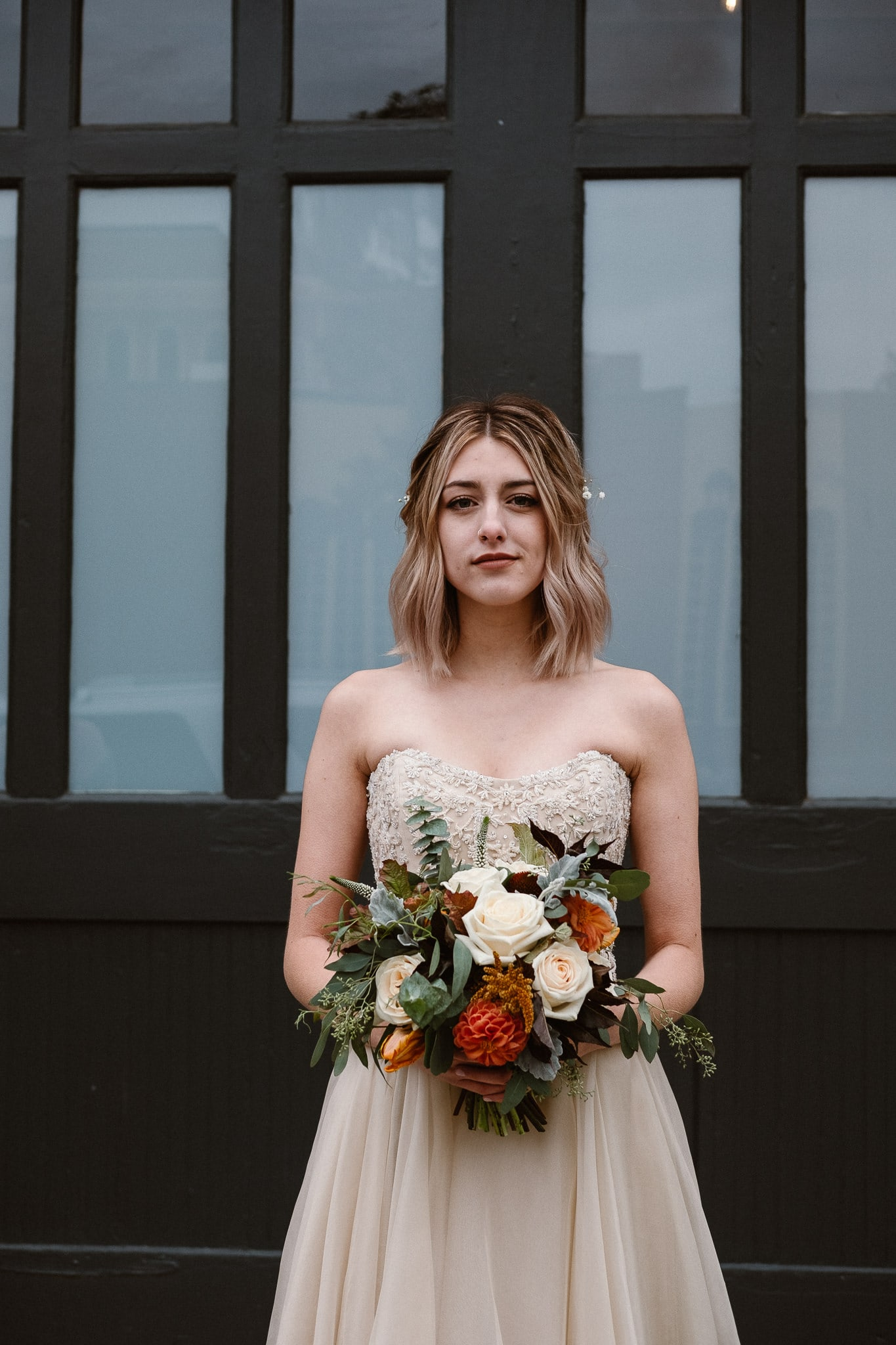 St Vrain Wedding Photographer | Longmont Wedding Photographer | Colorado Winter Wedding Photographer, Colorado industrial chic wedding, bride portrait, bridal portrait, Marchesa wedding gown