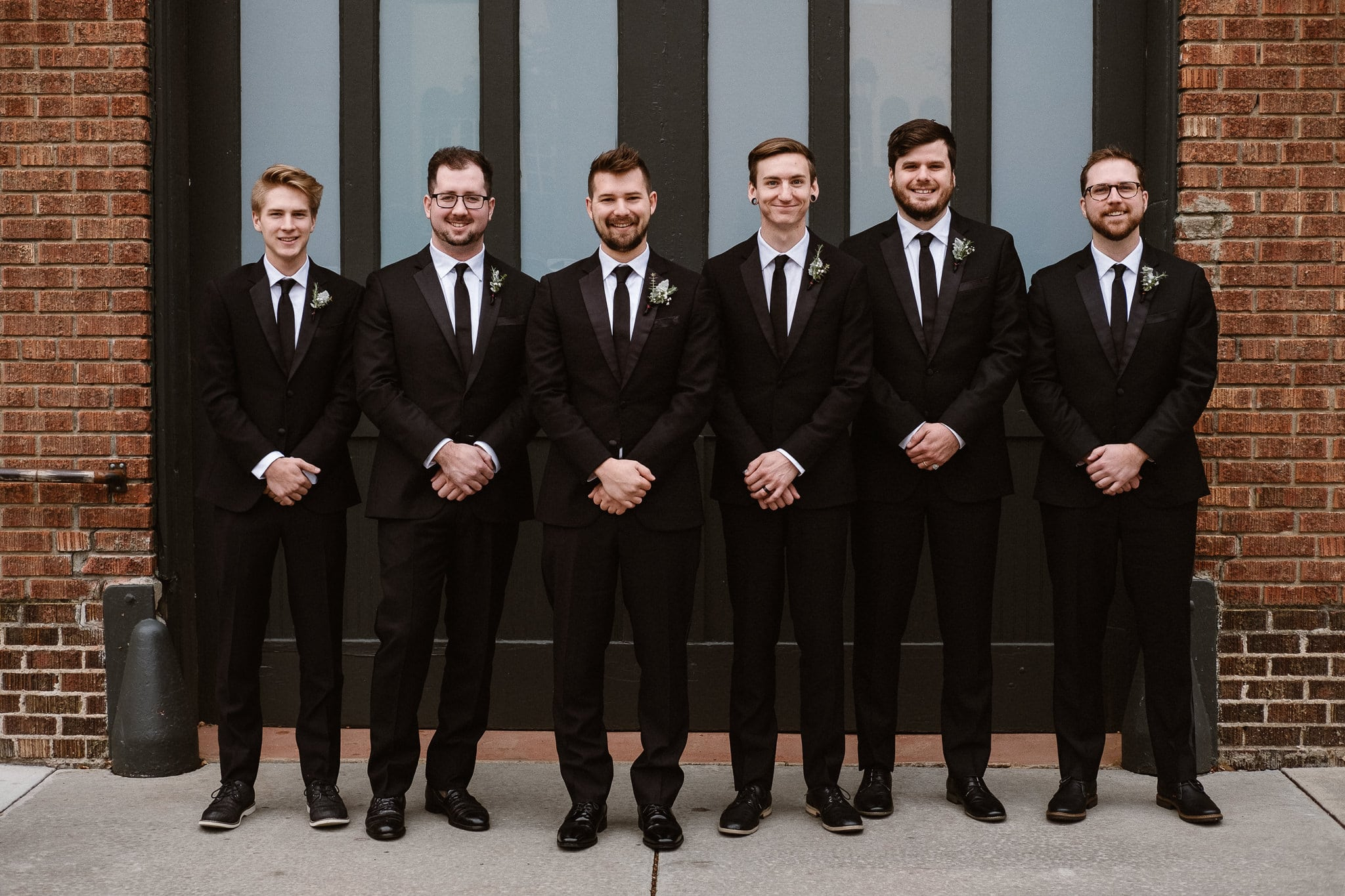 St Vrain Wedding Photographer | Longmont Wedding Photographer | Colorado Winter Wedding Photographer, Colorado industrial chic wedding, groom with groomsmen, black suits and black ties