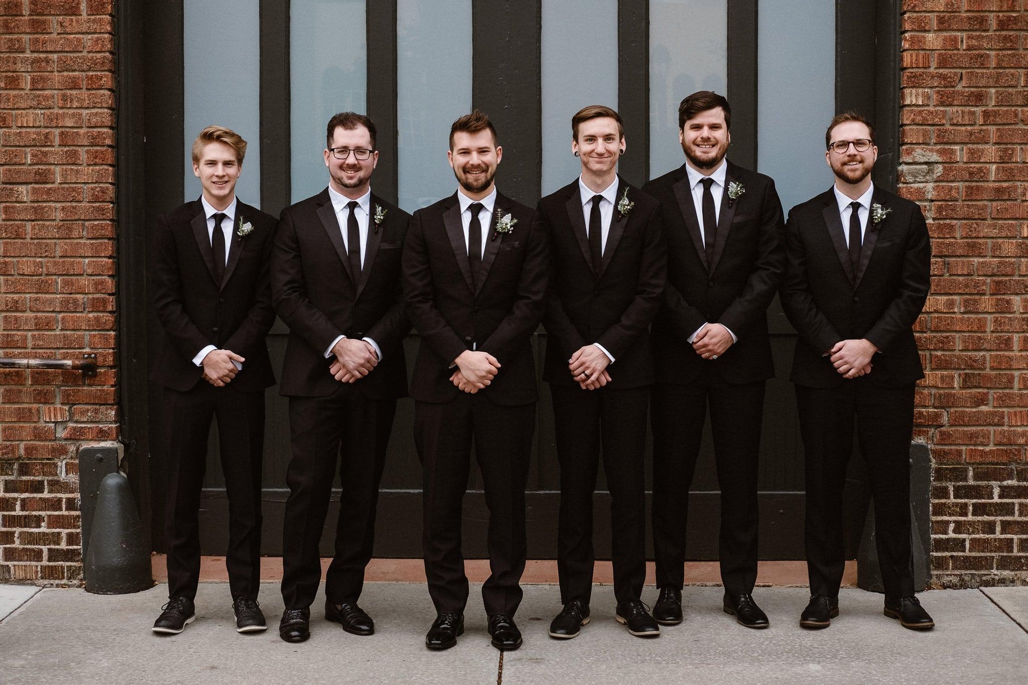 St Vrain Wedding Photographer | Longmont Wedding Photographer | Colorado Winter Wedding Photographer, Colorado industrial chic wedding, groom with groomsmen, black suits and black ties